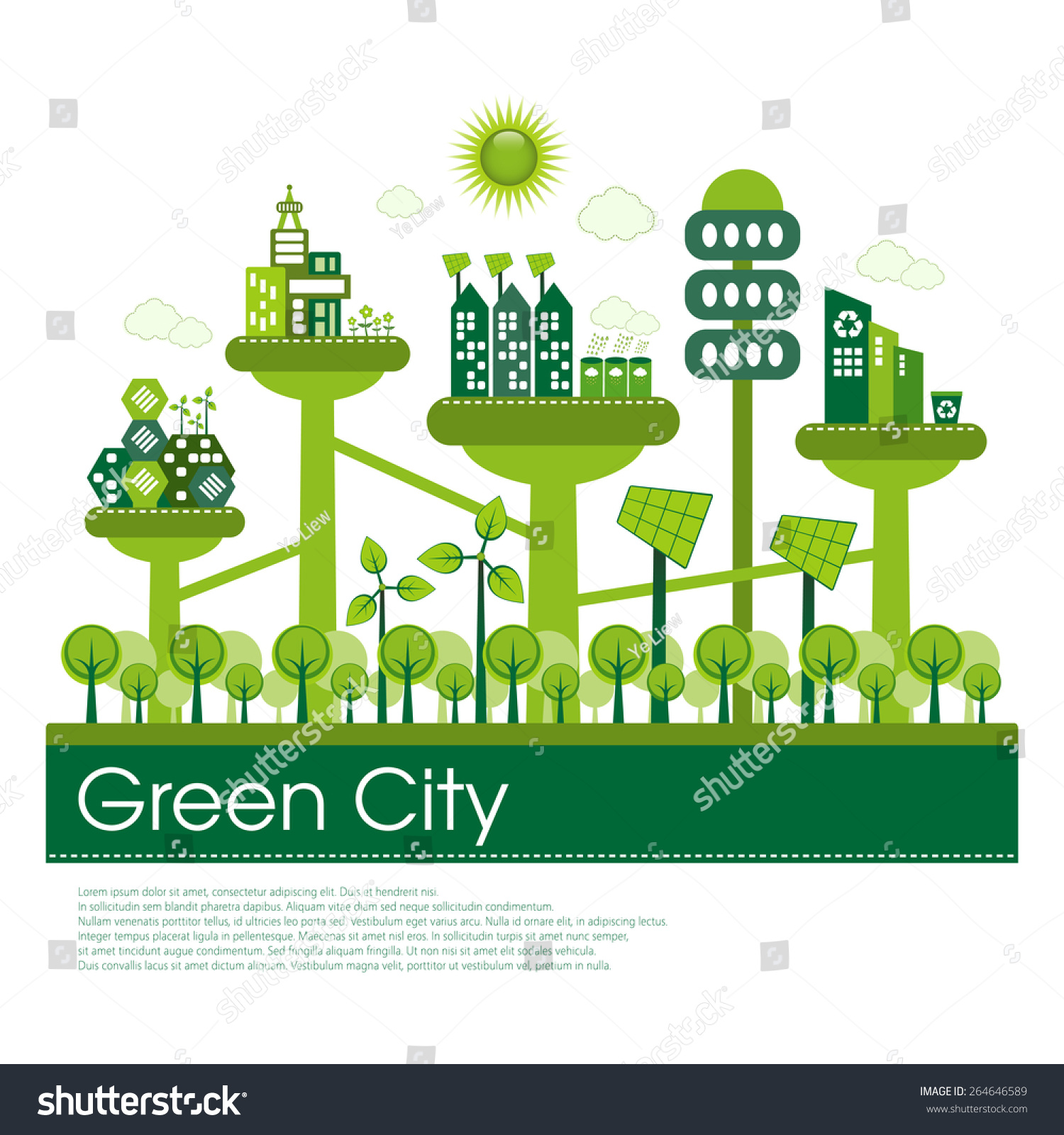 futuristic green eco city living concept stock vector 264646589 shutterstock. Black Bedroom Furniture Sets. Home Design Ideas