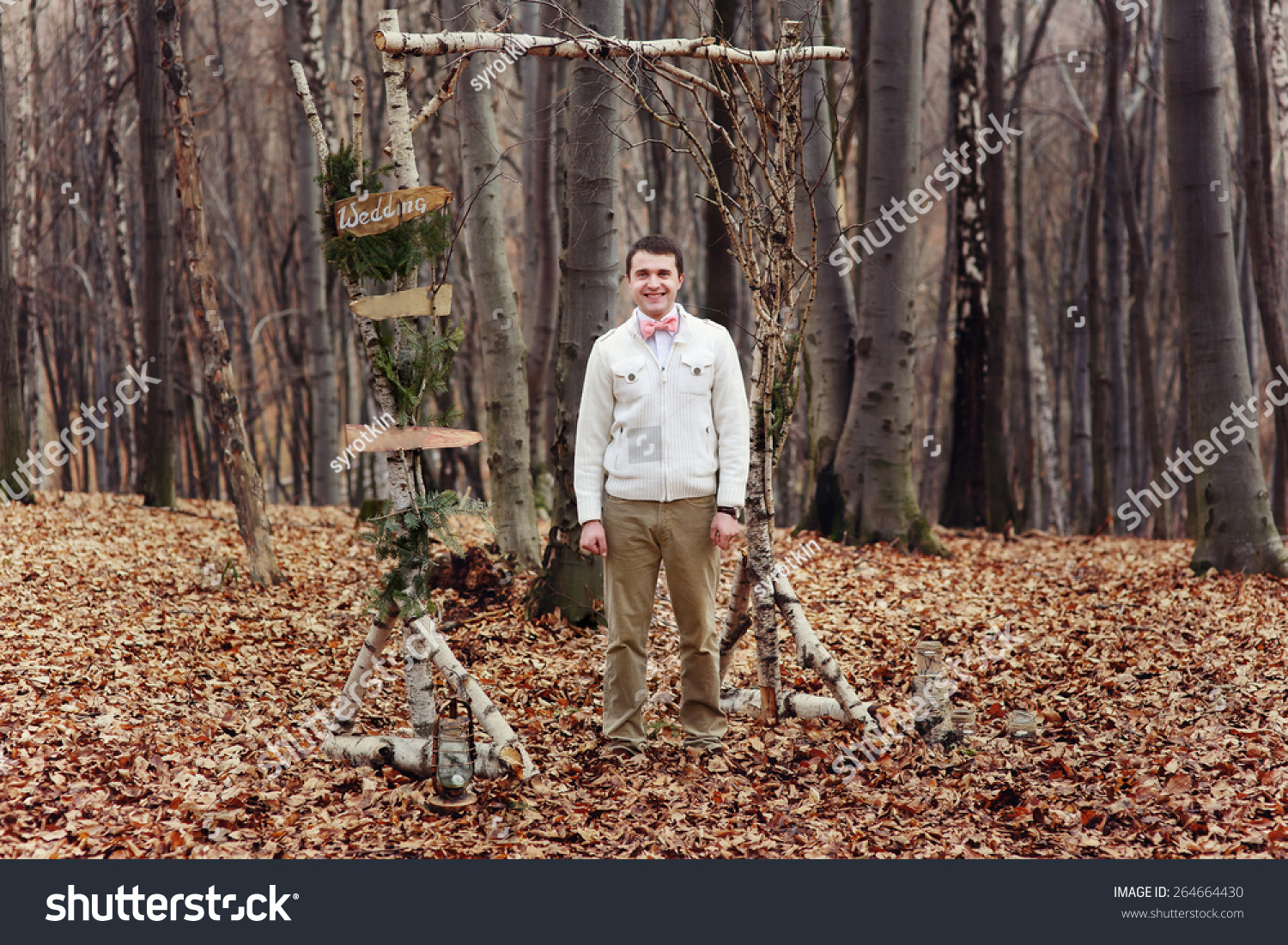 60 Non Traditional Wedding Vows: Groom Waiting Bride In Tge Forest. Wedding Ceremony Stock