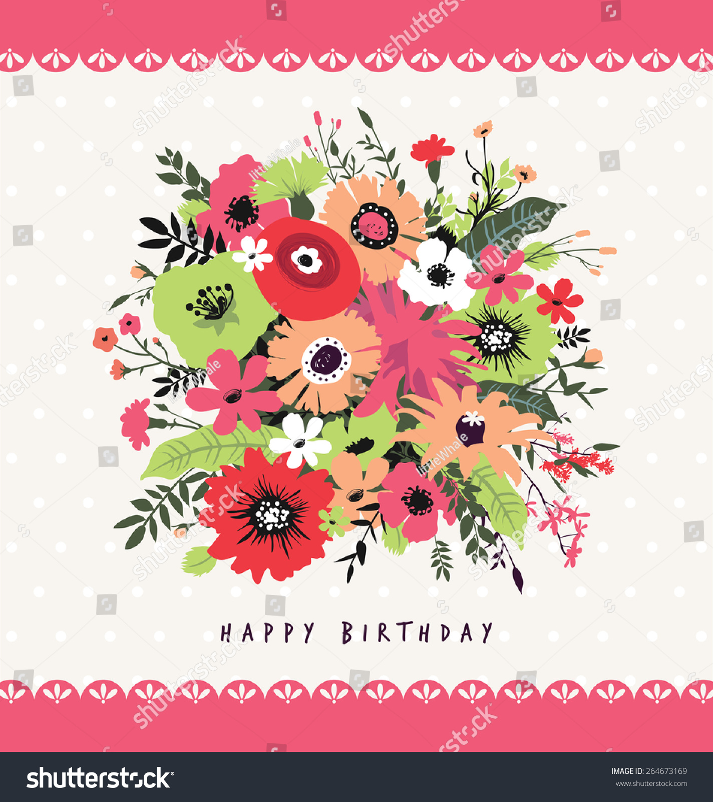 Happy birthday greeting card beautiful bunch stock vector 264673169 happy birthday greeting card with a beautiful bunch of flowers izmirmasajfo