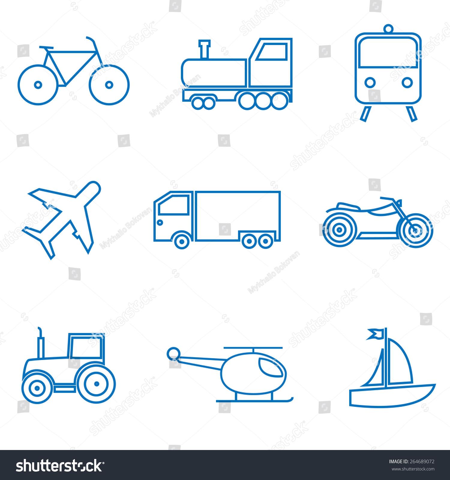 Mode of transport. Car, train, plane, bike, truck, tractor icon