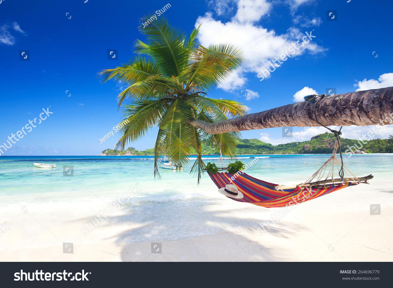 Perfect Tropical Paradise Beach Seychelles Island Stock