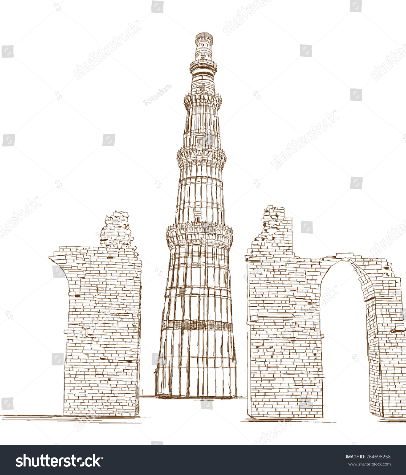 Qutub minar new delhi india vector illustration