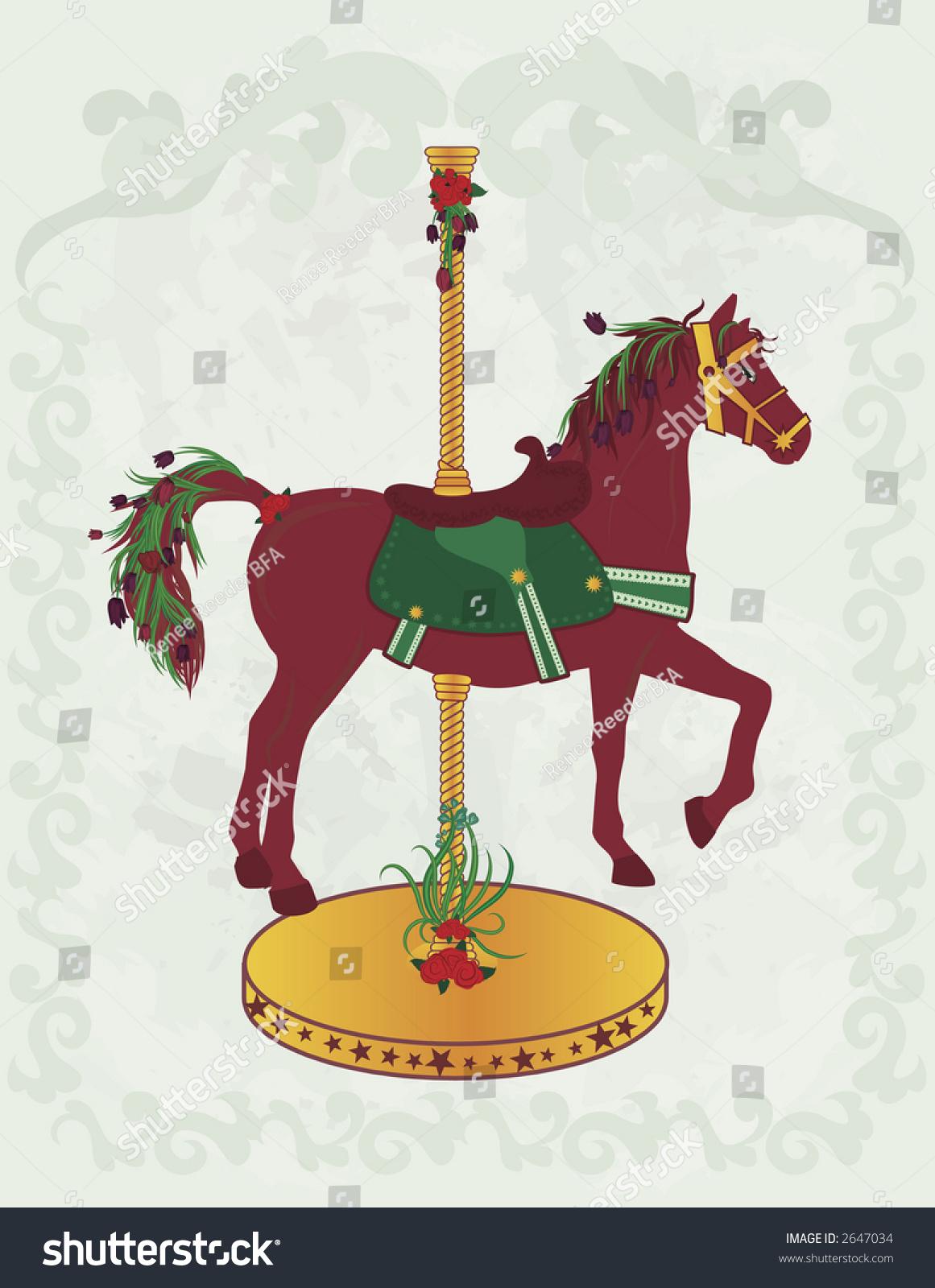 Vector De Stock Libre De Regalias Sobre Illustration Spring Inspired Carousel Horse Drawing2647034