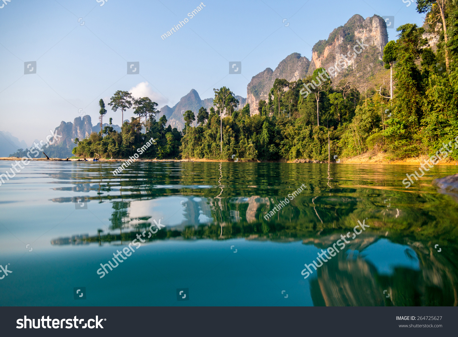 Beautiful mountains lake river sky and natural attractions in Ratchaprapha Dam at Khao Sok National Park Surat Thani Province Thailand