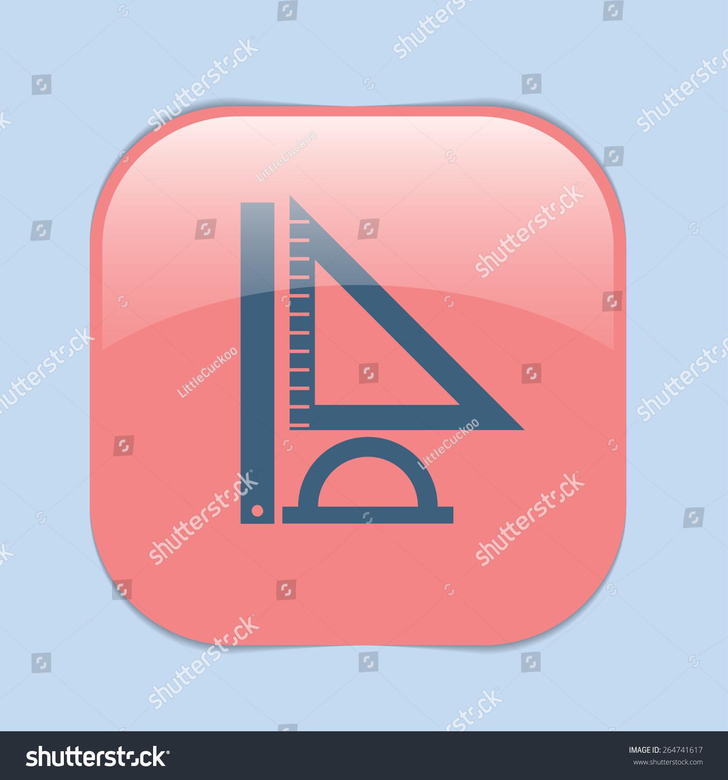 Ruler Protractor Triangle Symbol Geometry Mathematics Stock Vector