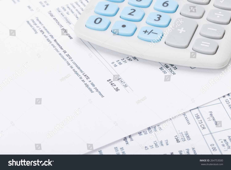 calculator monthly utility bill under stock photo
