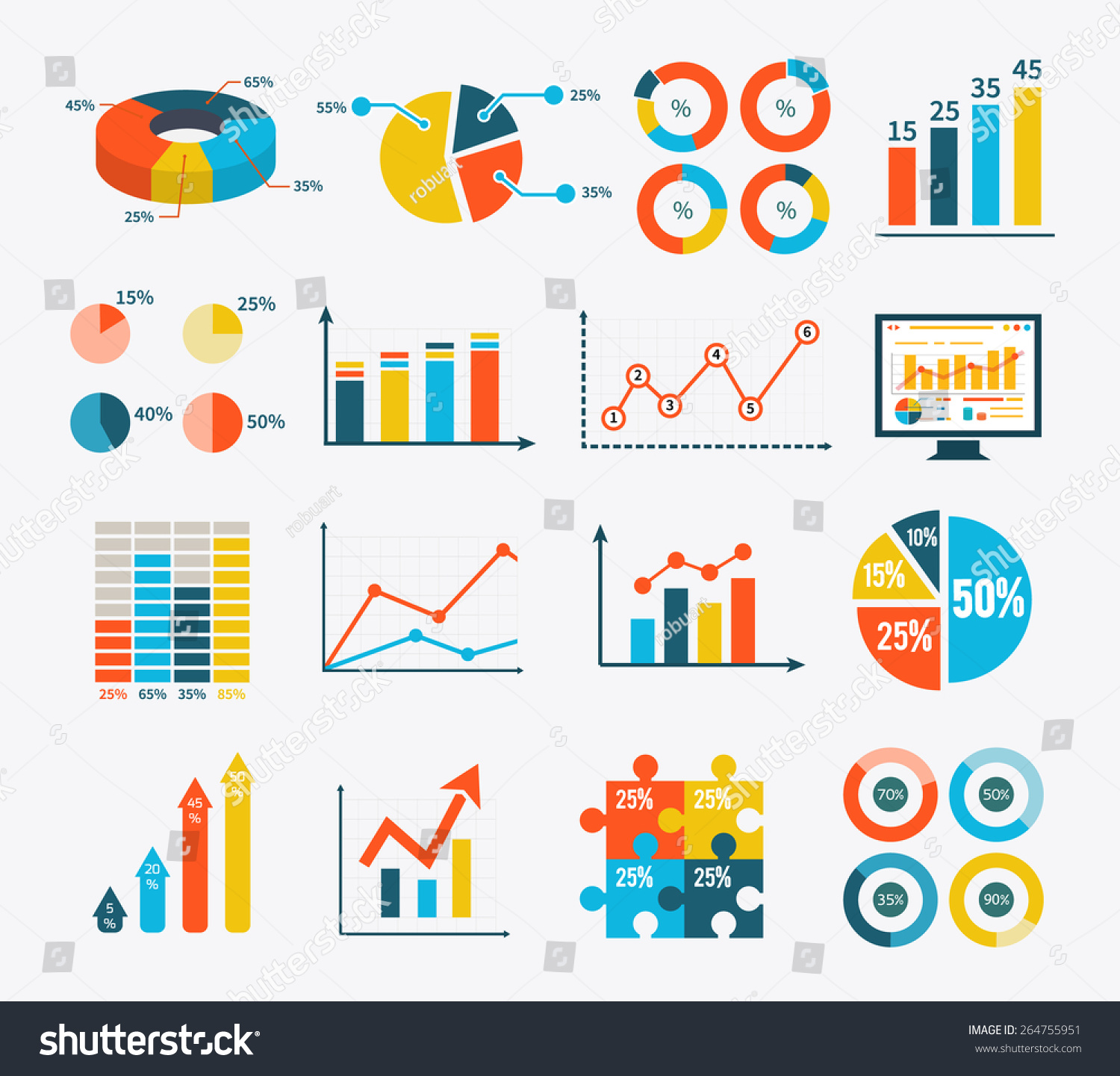 big set infographic of graph  charts and diagrams  flat    save to a lightbox
