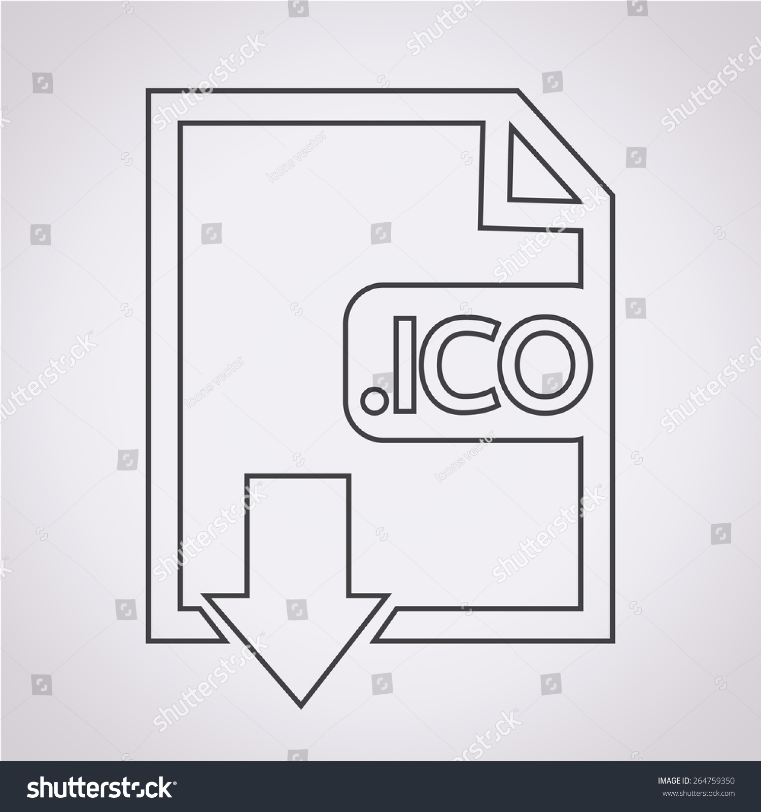 image file type format ico icon stock vector 264759350 shutterstock. Black Bedroom Furniture Sets. Home Design Ideas