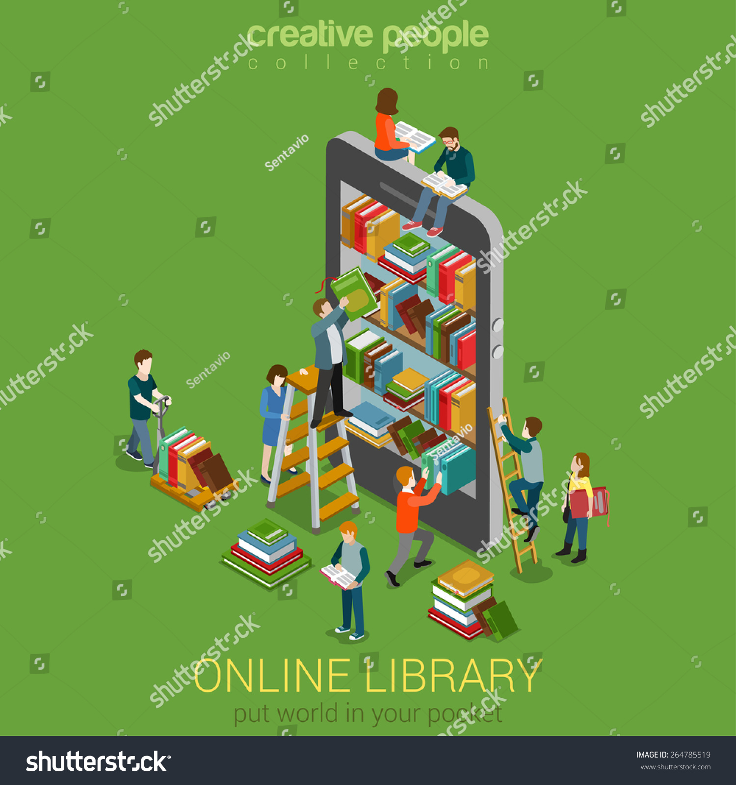 Online mobile library creative modern 3d flat design web for 3d flat design online
