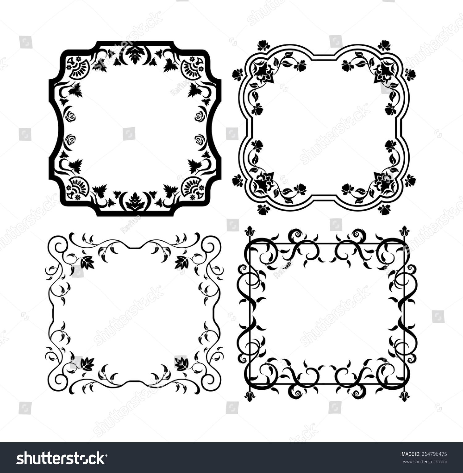 Black Vintage Ornamental Frames Floral Elements Stock Vector ...