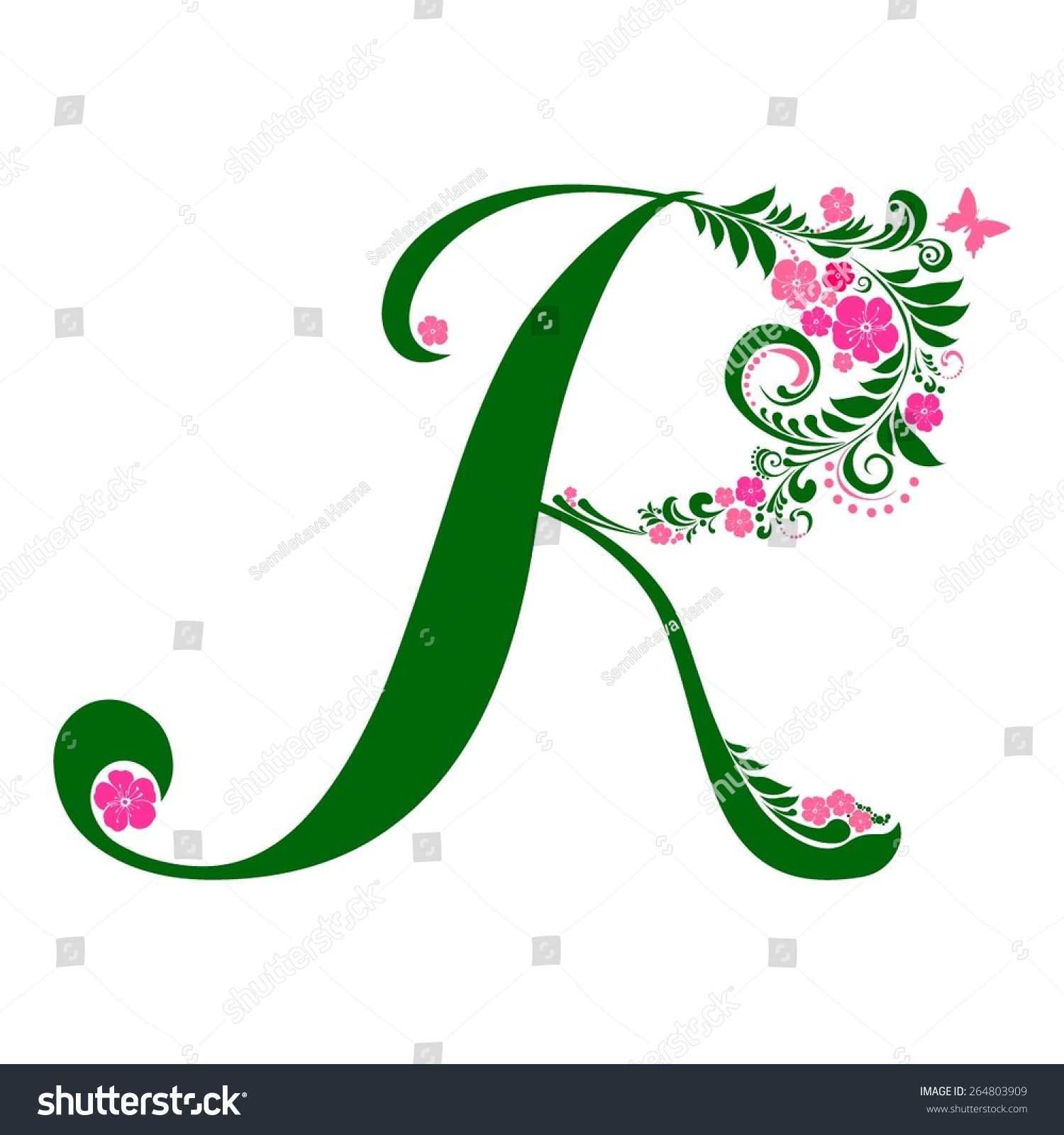 Letter R Isolated On White Romantic Of Beautiful Flowers Floral Alphabet Vector