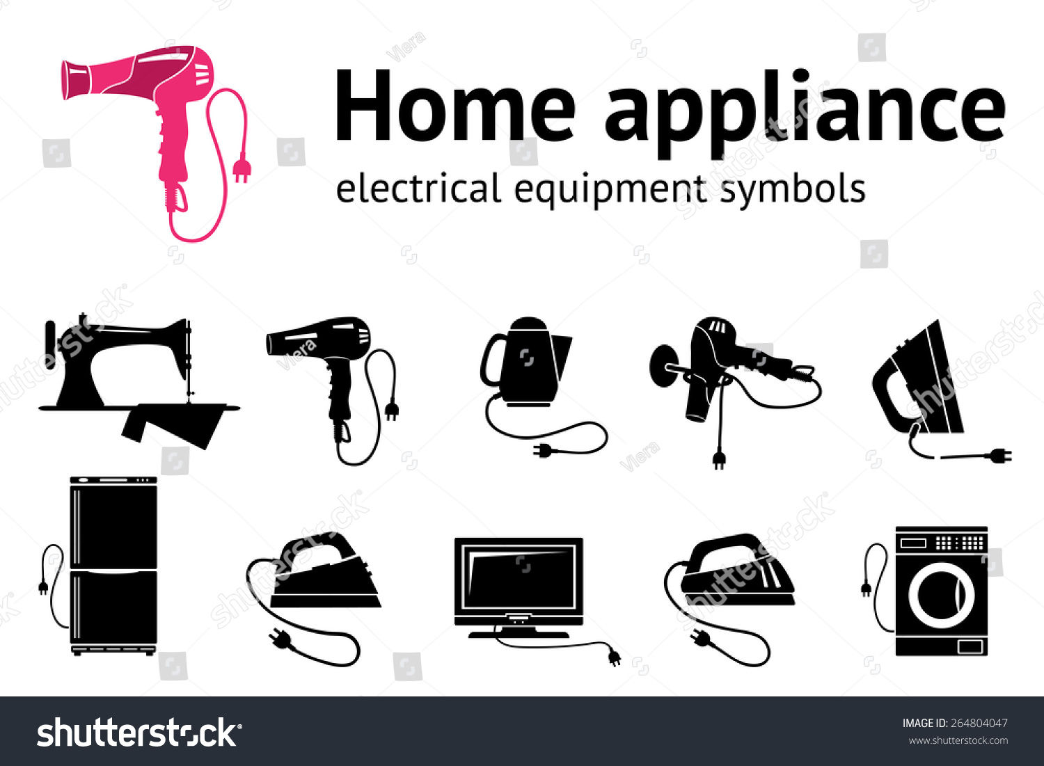 Home Electrical Appliance Icon Set Hairdryer Stock Vector 264804047