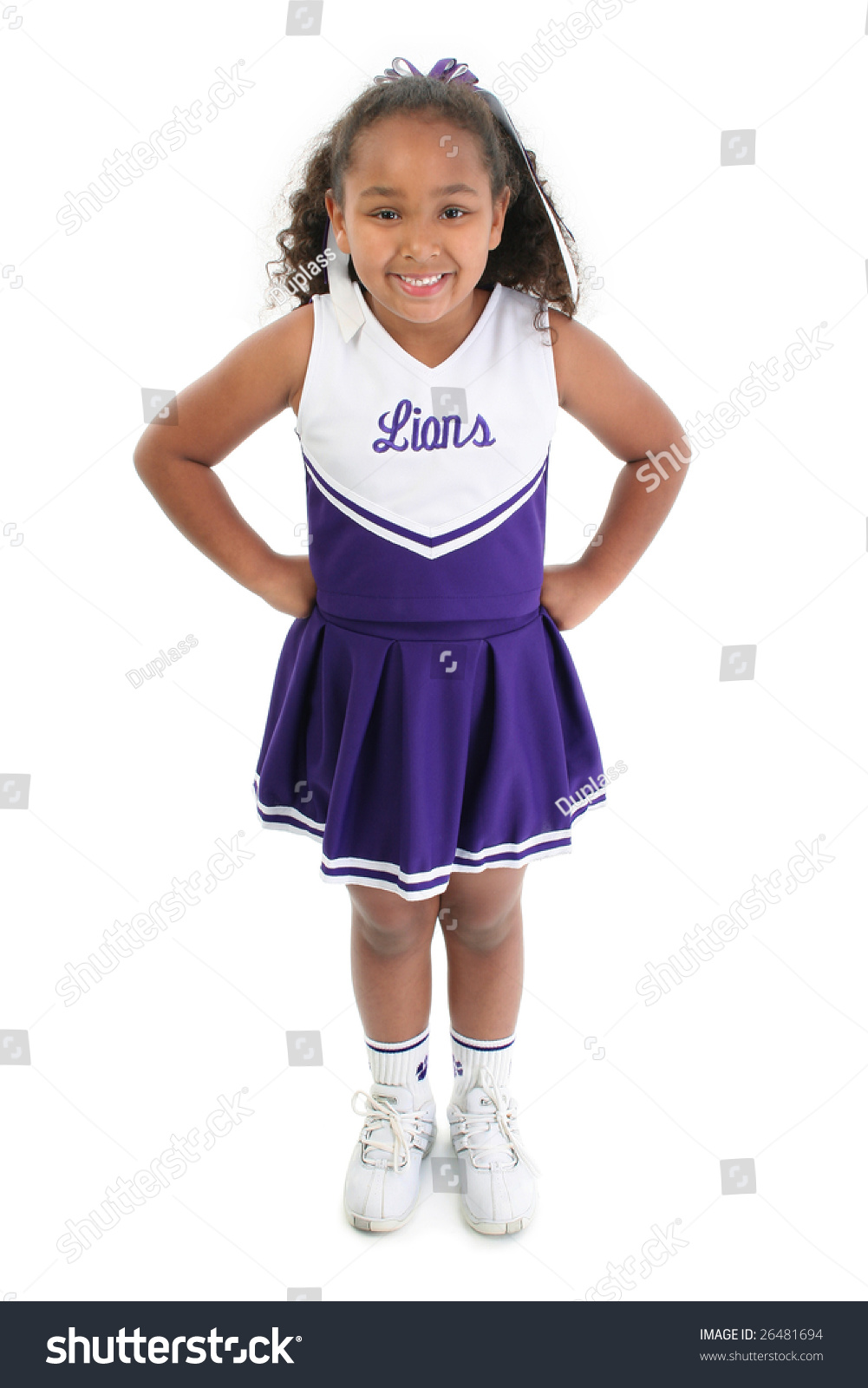 Young Black Teenage Men Playing Video Games: Attractive Young Black Girl In Cheerleader Uniform. Stock