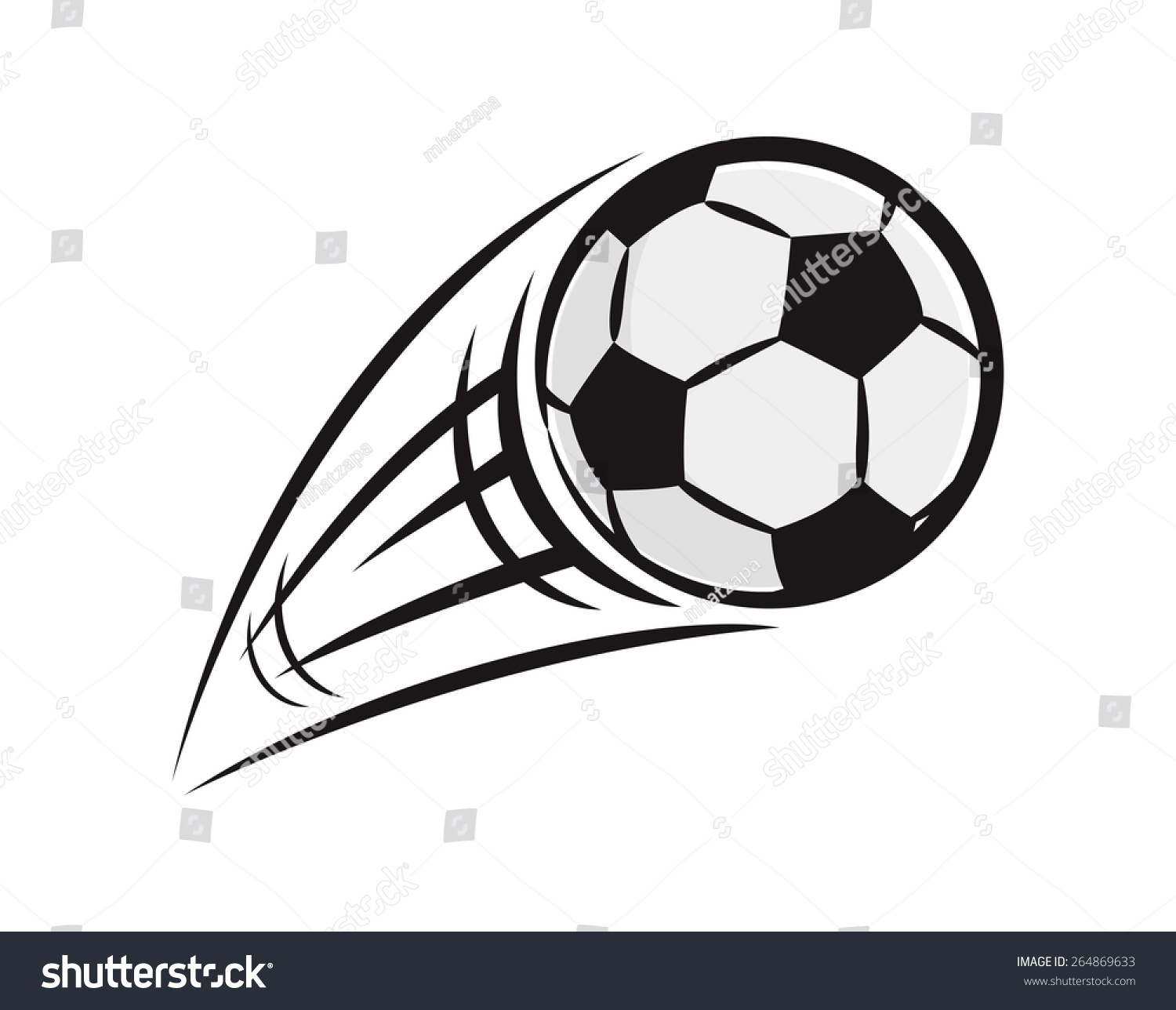 Flying Soccer Ball Stock Vector Illustration 264869633