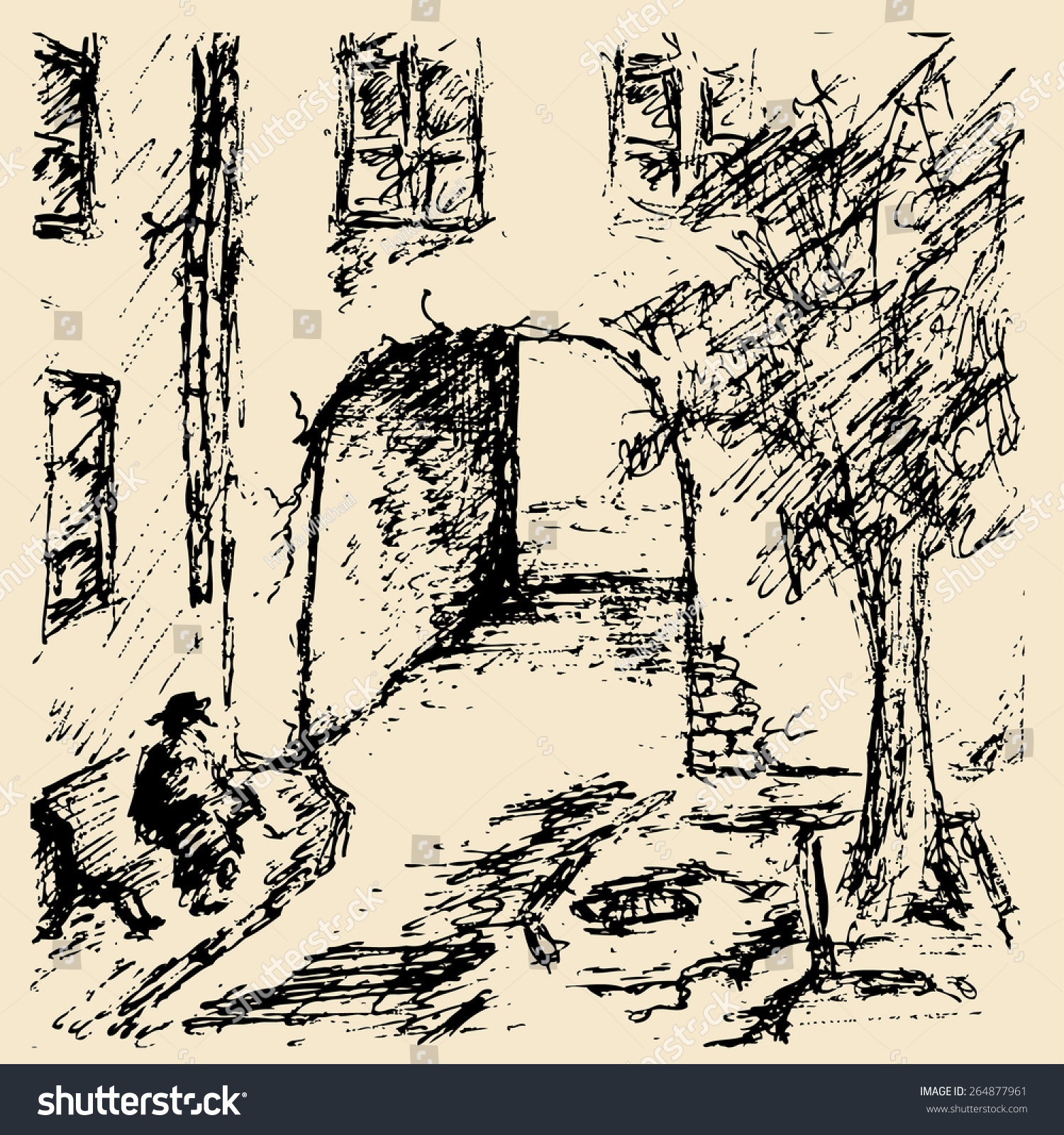 A man sits alone on a bench in the courtyard of the old house vector