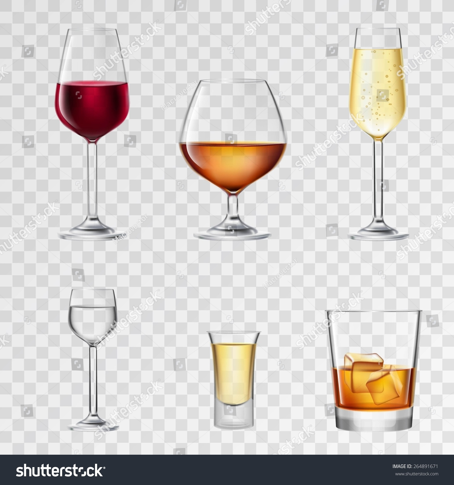 Alcohol Drinks 3d Realistic Glasses Transparent Stock