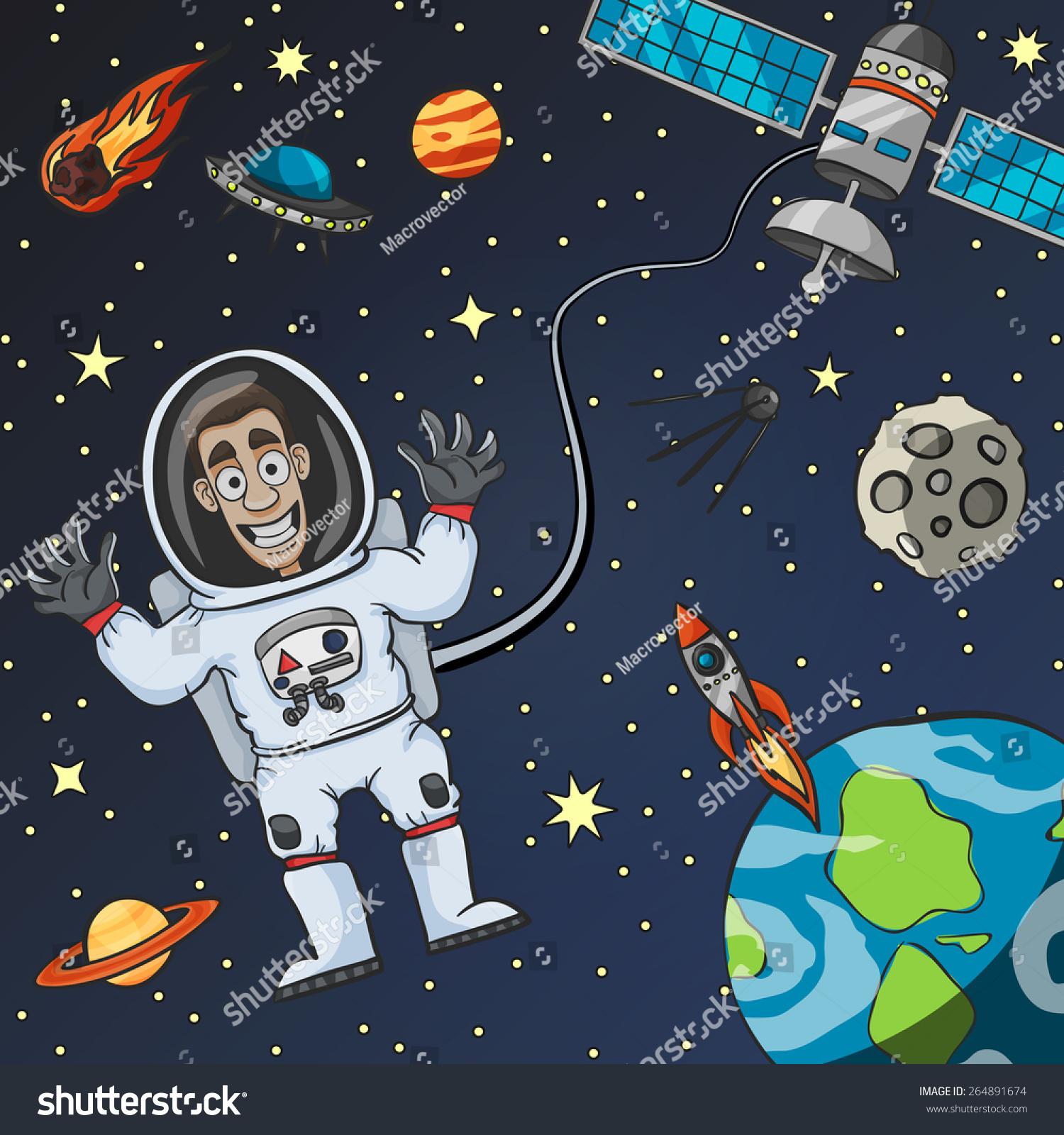 cartoon astronaut space satellite moon earth stock vector. Black Bedroom Furniture Sets. Home Design Ideas