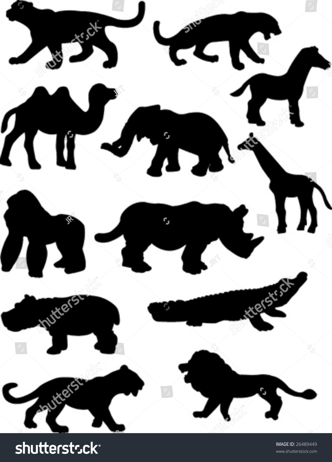 Jungle Animal Silhouettes Stock Vector 26489449 - Shutterstock