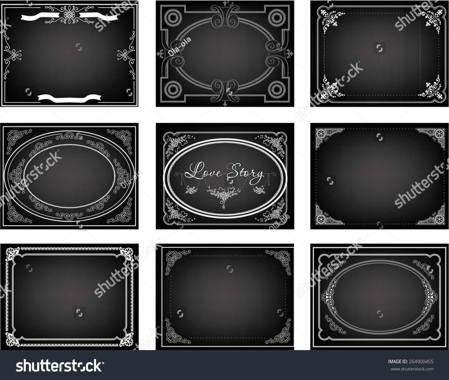 Set Old Silent Movie Title Frames Stock Vector 264900455 - Shutterstock