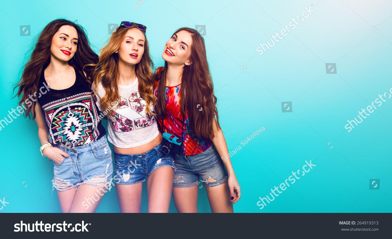Fashion Portrait Three Best Friends Posing Stock Photo 264919313 Shutterstock