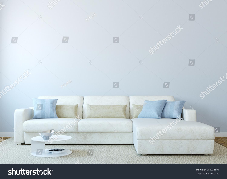 White Couch Living Room Modern Livingroom Interior White Couch Near Stock Illustration