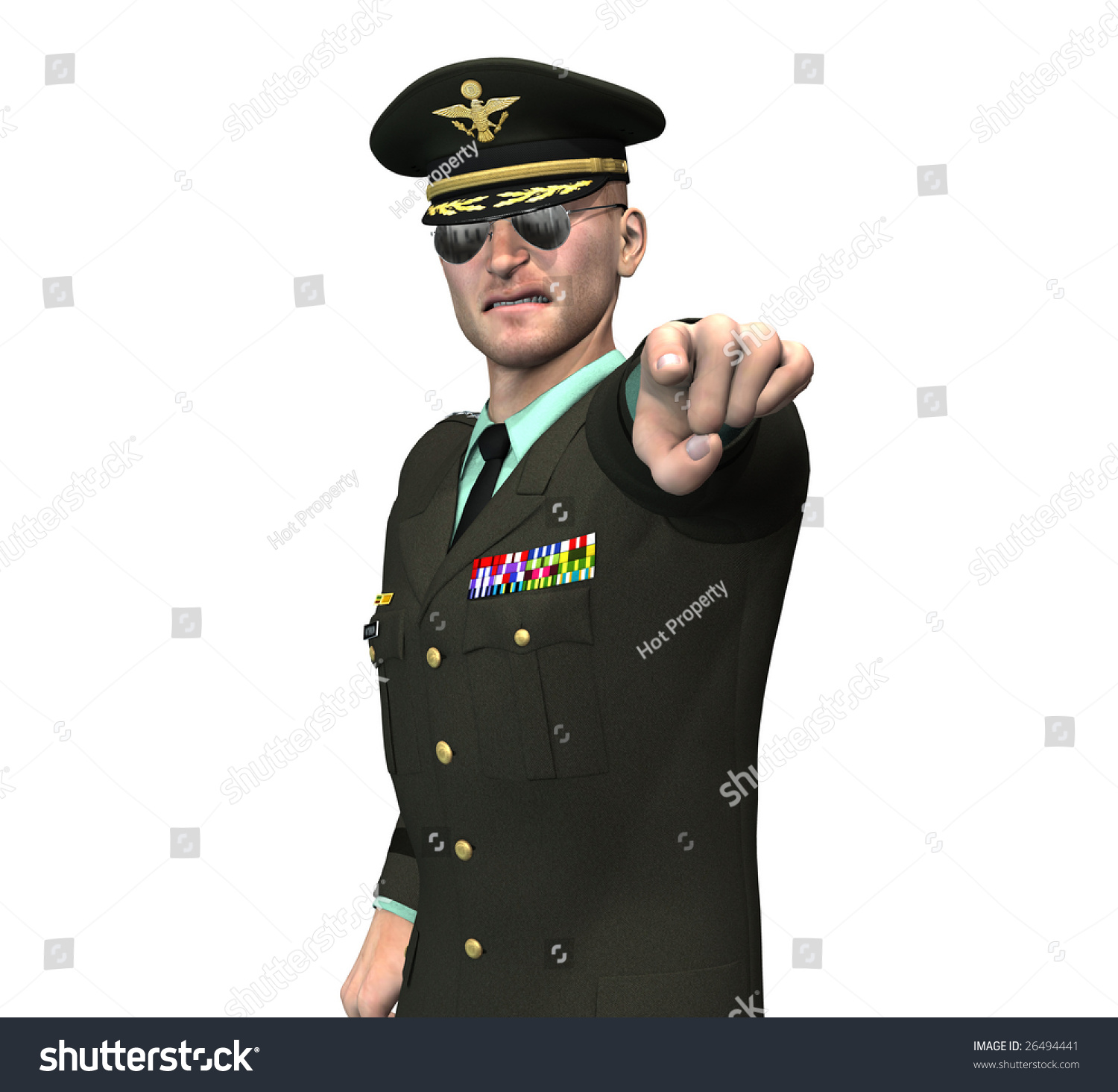 Us Army Recruitment Officer General Pointing Stock Illustration ...