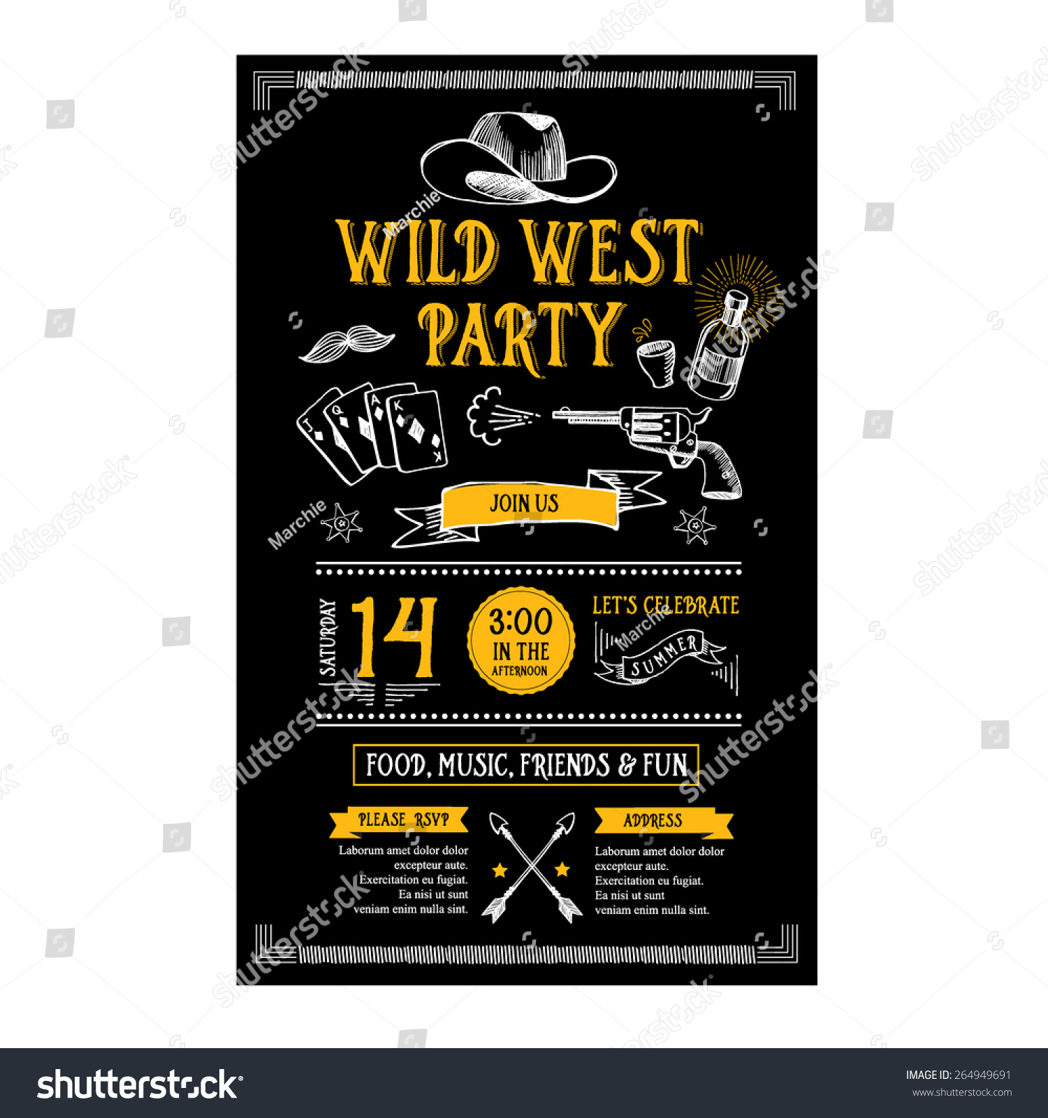 Invitation Wild West Party Flyertypography Design Vector – Wild West Party Invites