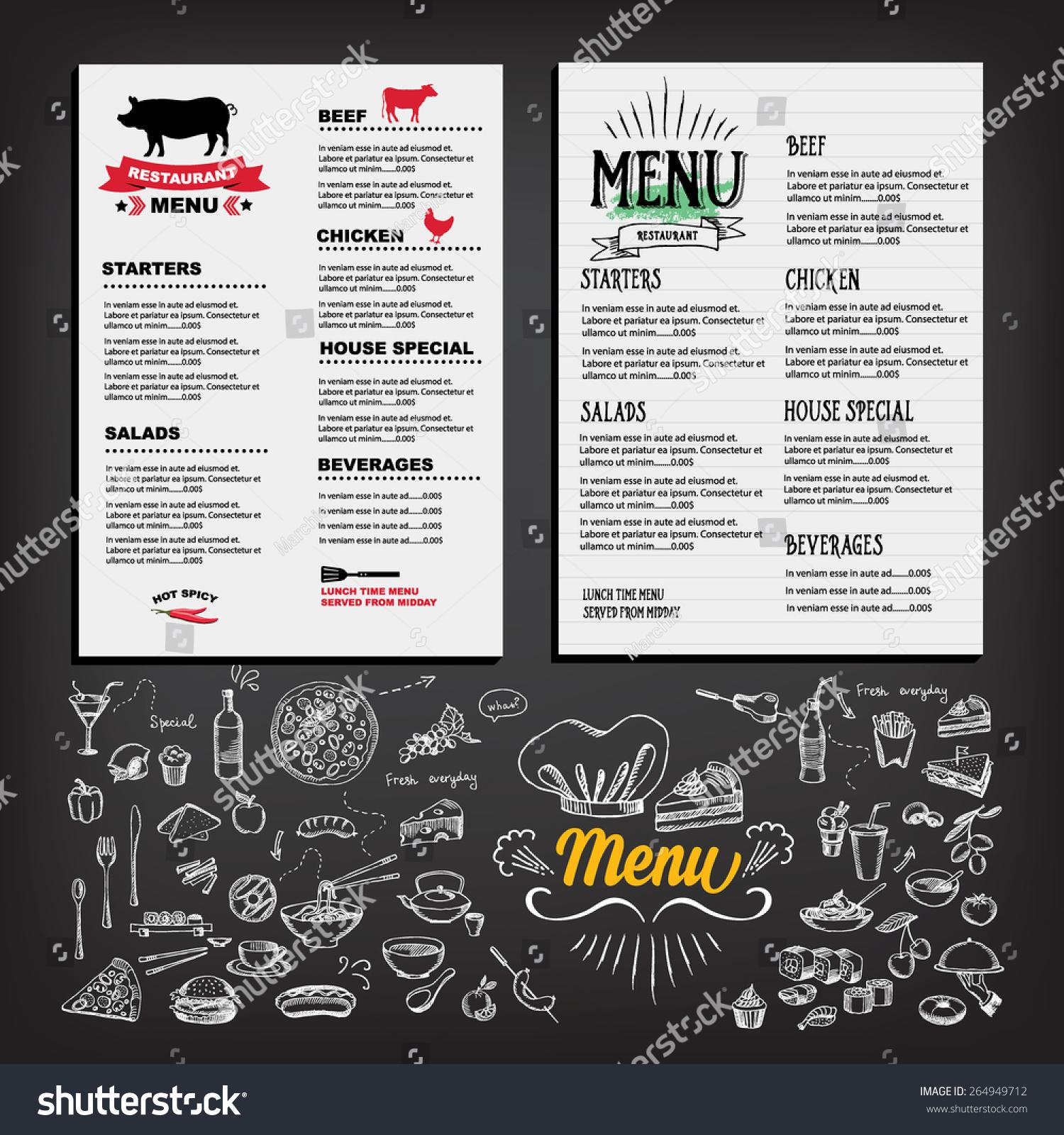 Food menu restaurant template design flyer stock vector for Cafe brochure design