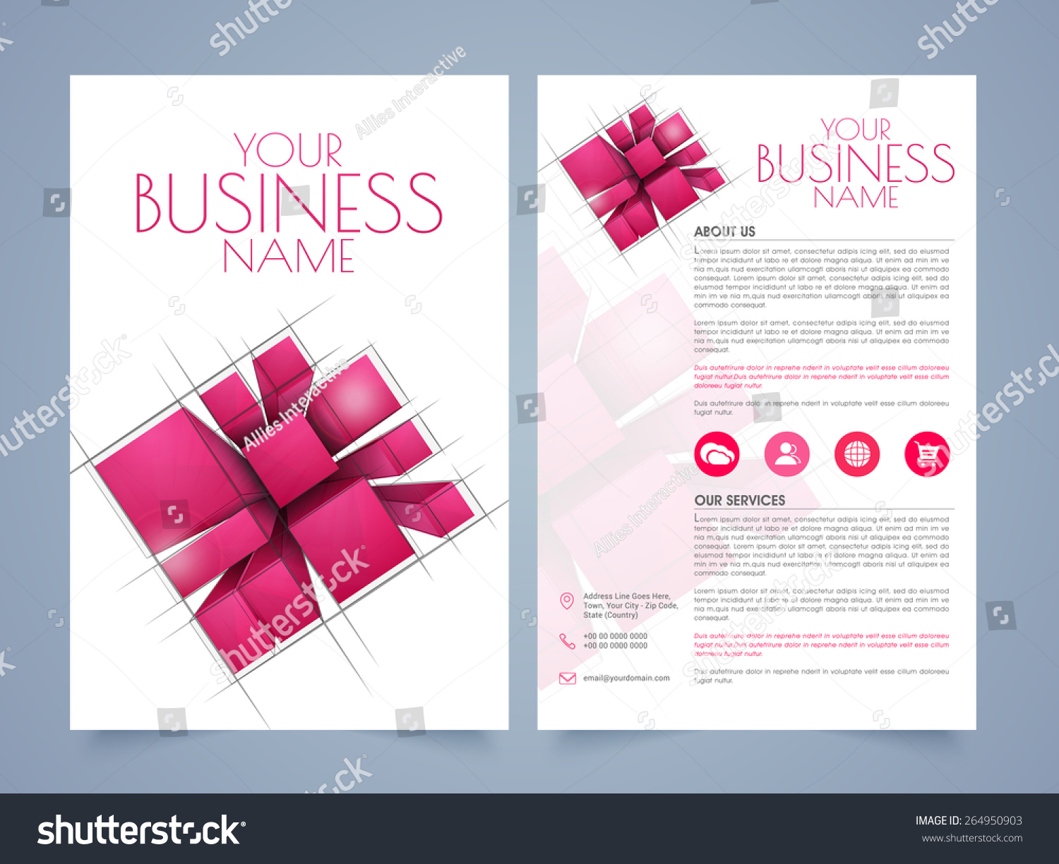 Stylish two page business brochure template or flyer for Two page brochure template