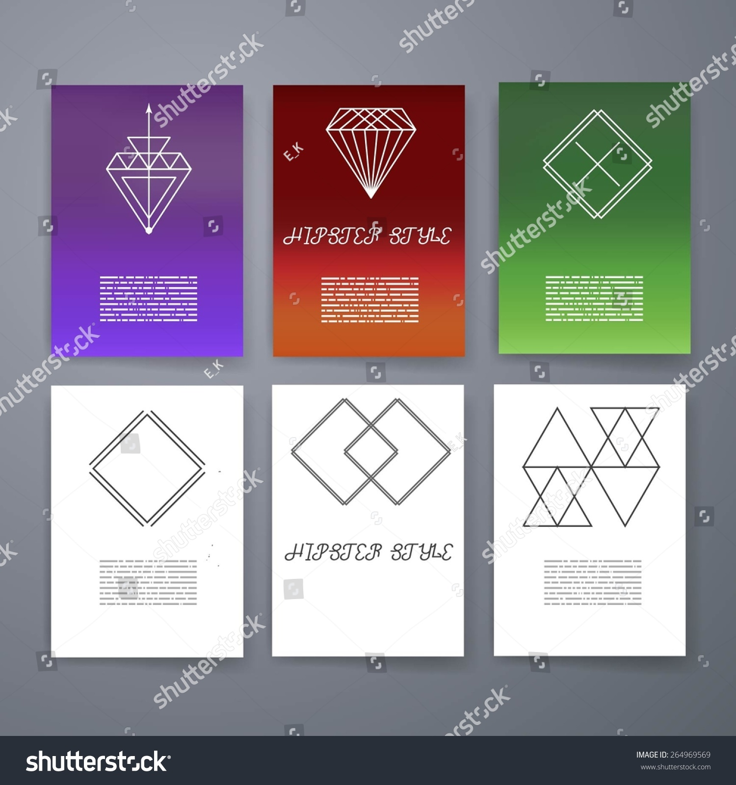 Template Set Hipster Geometric Typography Retro Stock Vector ...