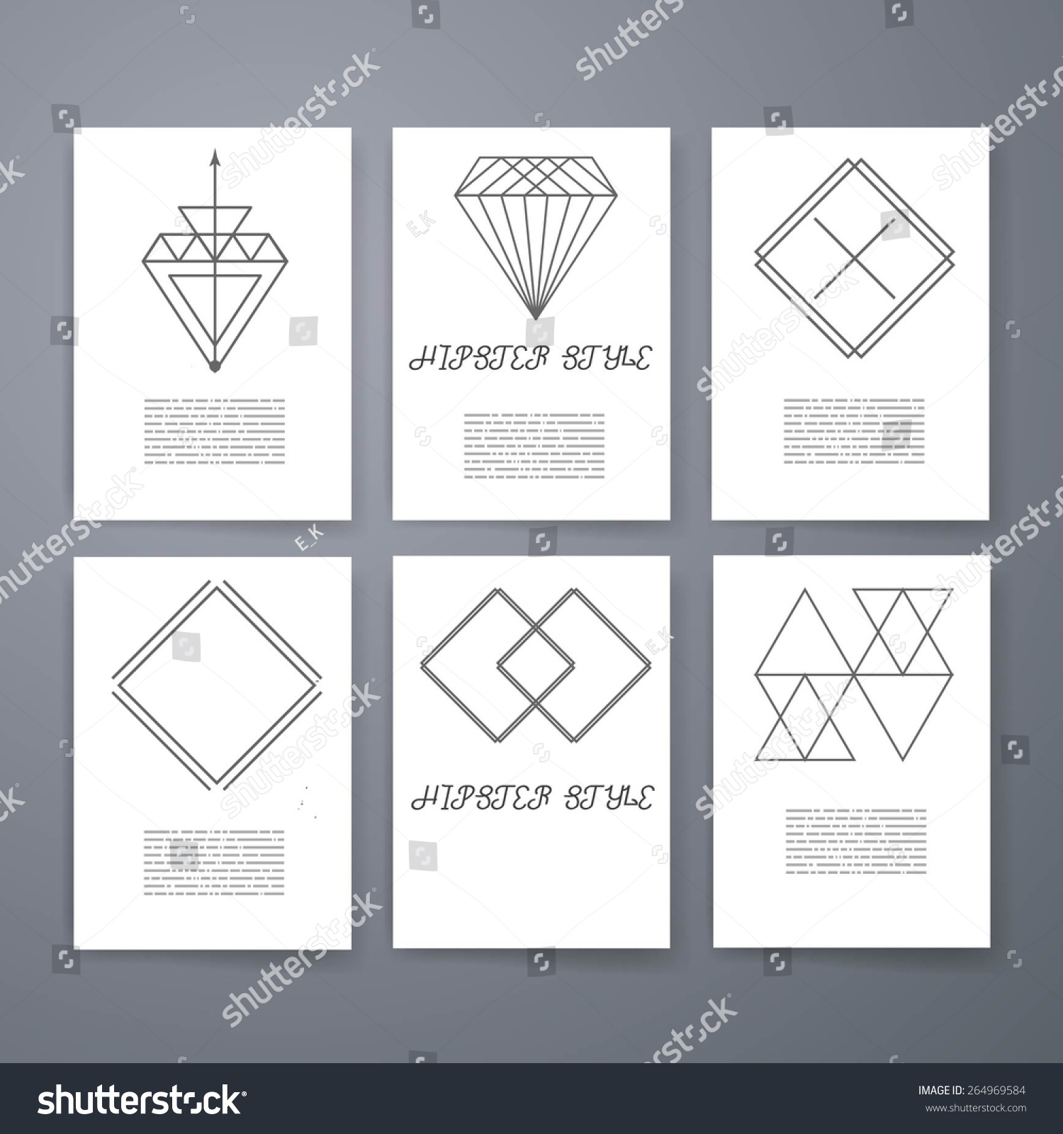 Template Set Hipster Geometric Typography Retro Stock Vector