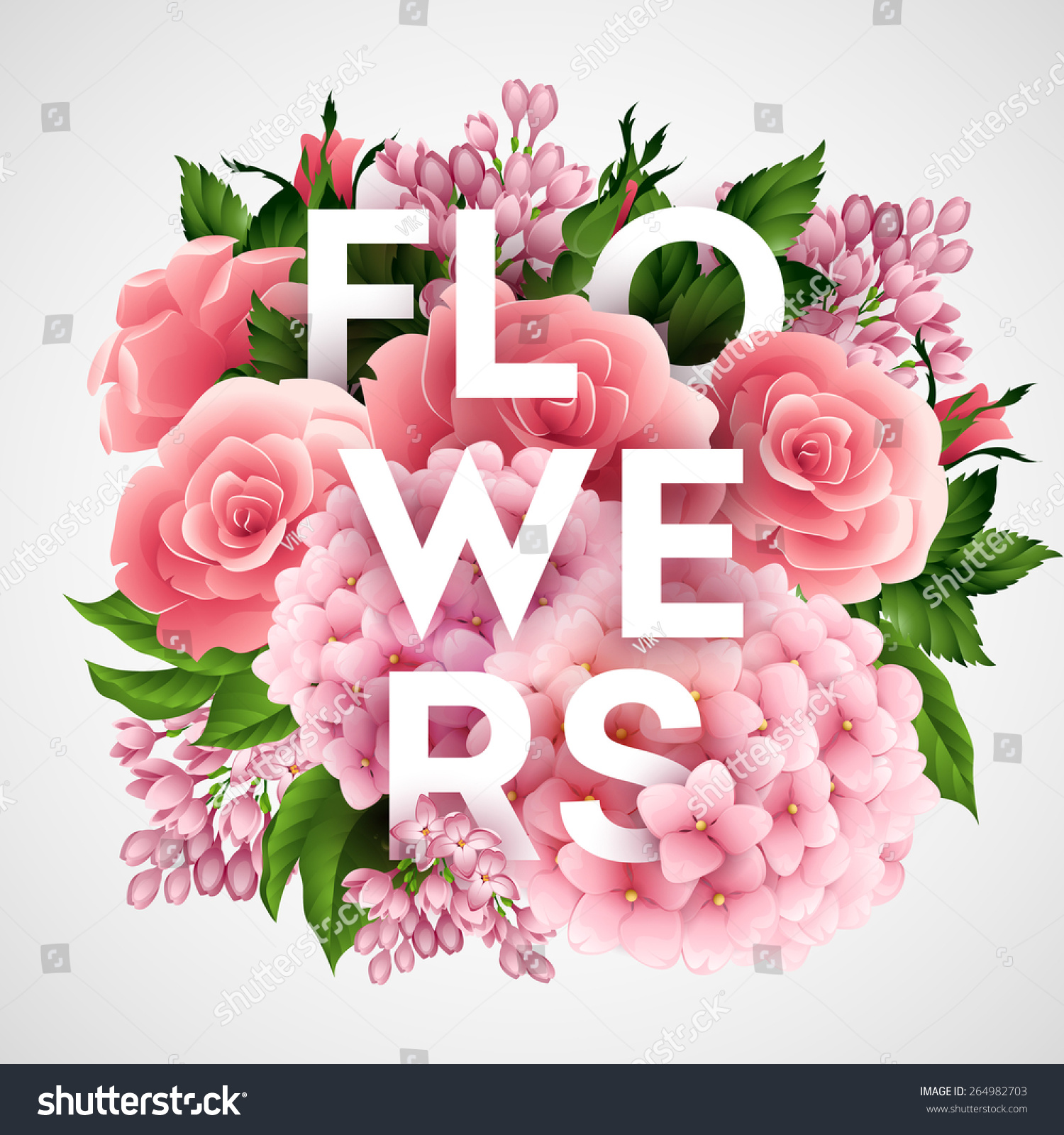 Stylish Vector Poster Beautiful Flowers Eps Stock Vector Royalty