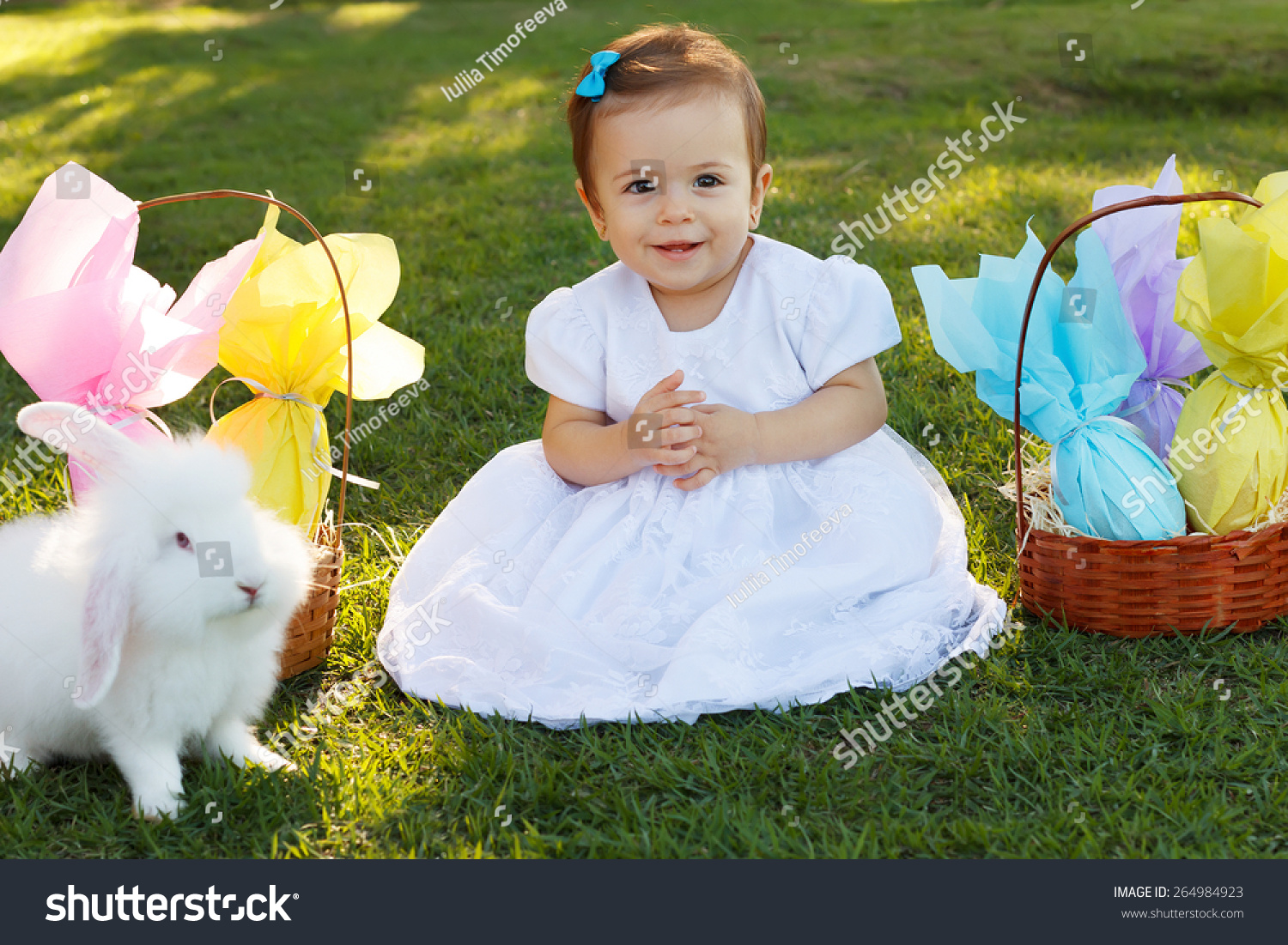 bfee636d9 Cute Smiling Baby Girl White Dress Stock Photo (Edit Now) 264984923 ...