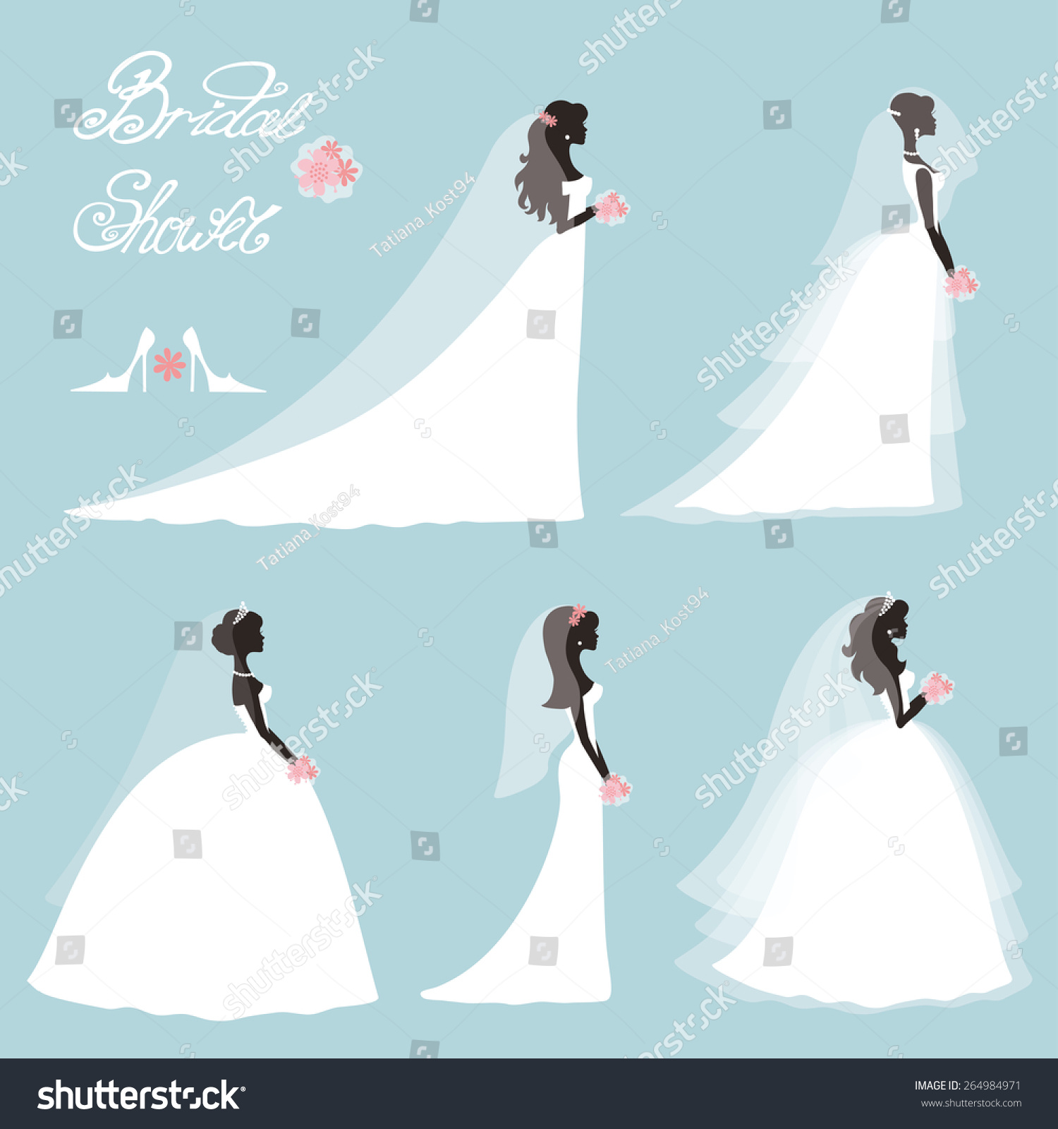 Bride In Different Dress Style Bridal Shower Decor Set Cartoon Girl