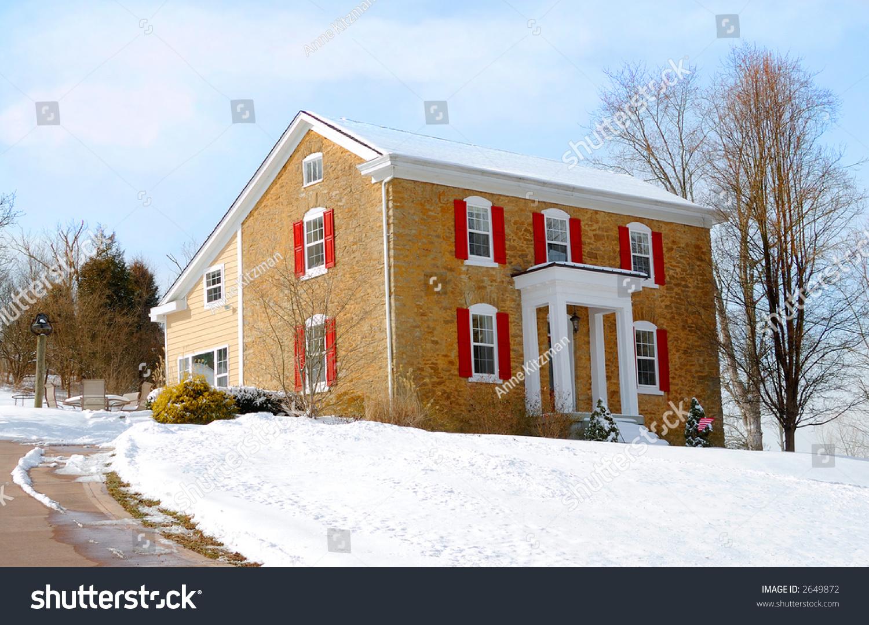 Colonial Farmhouse In Winter