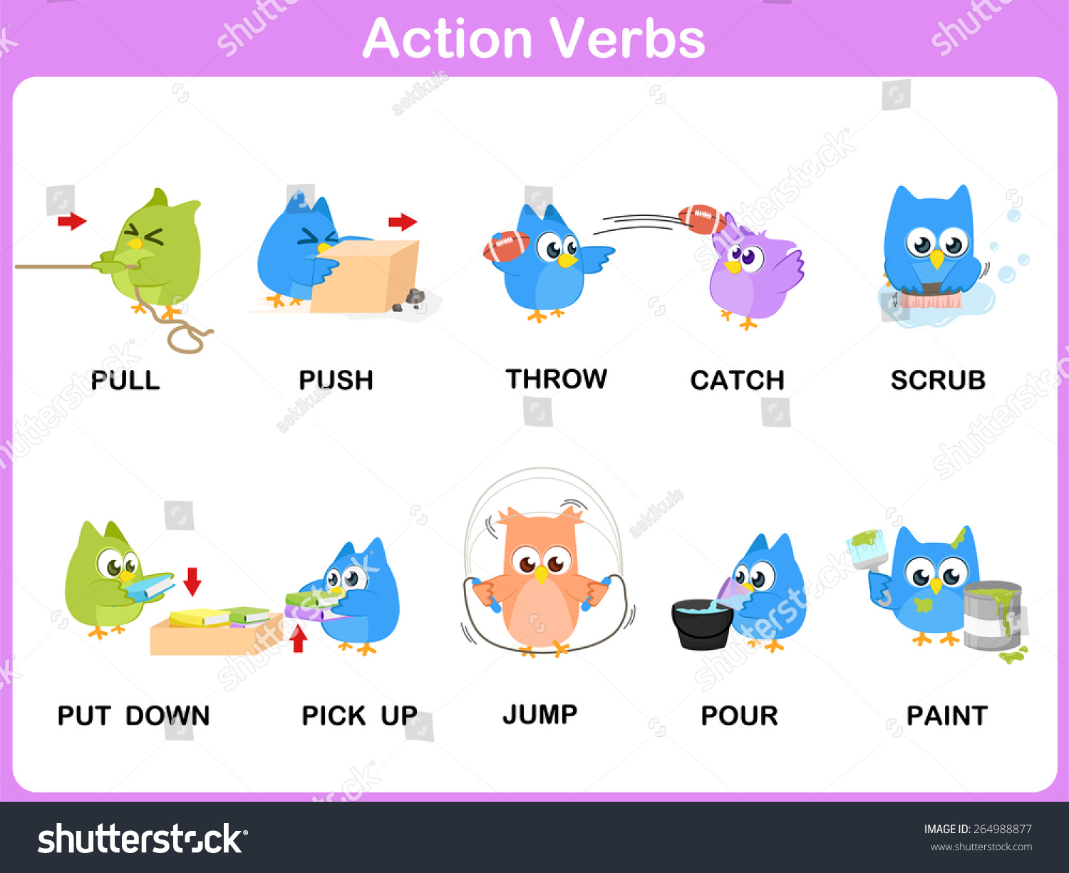 action verbs picture dictionary activity for kids - Action Berbs