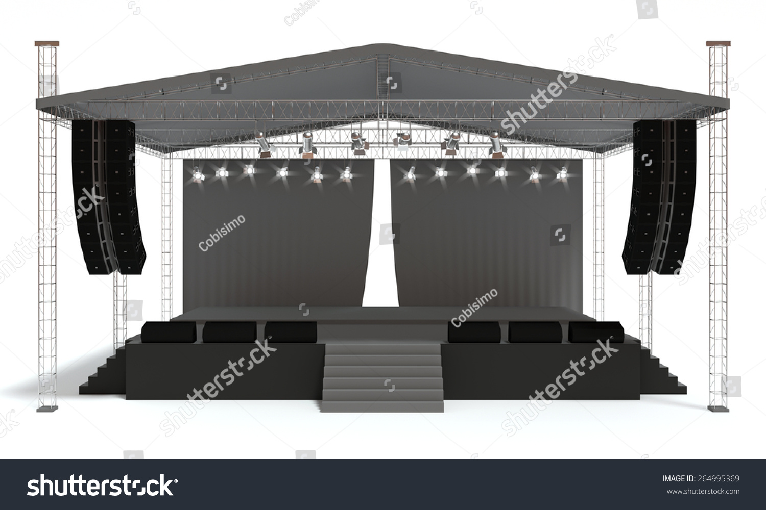 Empty outdoor concert stage - Outdoor Concert Stage Isolated White Background