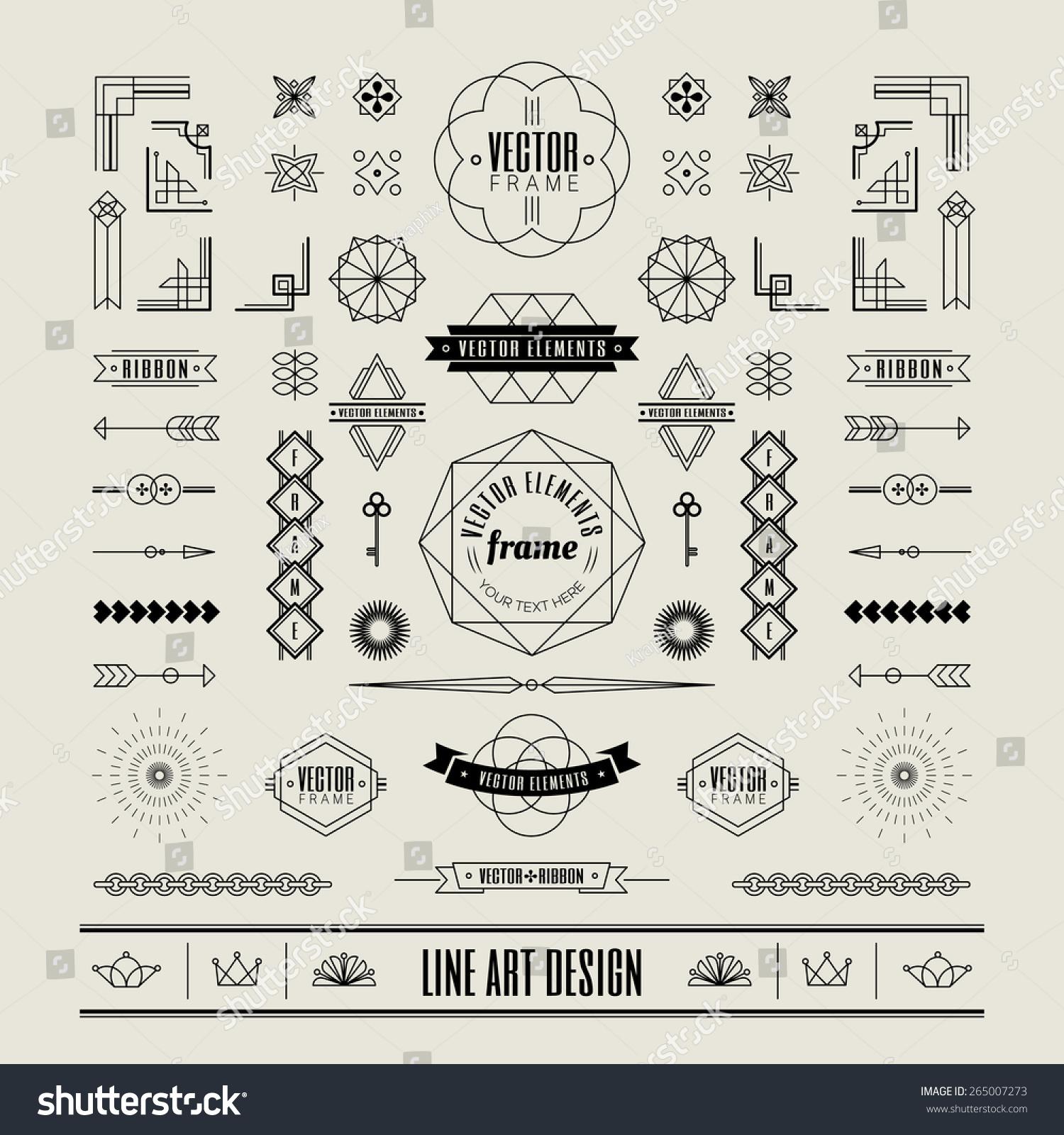 Art Deco Line Design : Set of linear thin line art deco retro vintage design