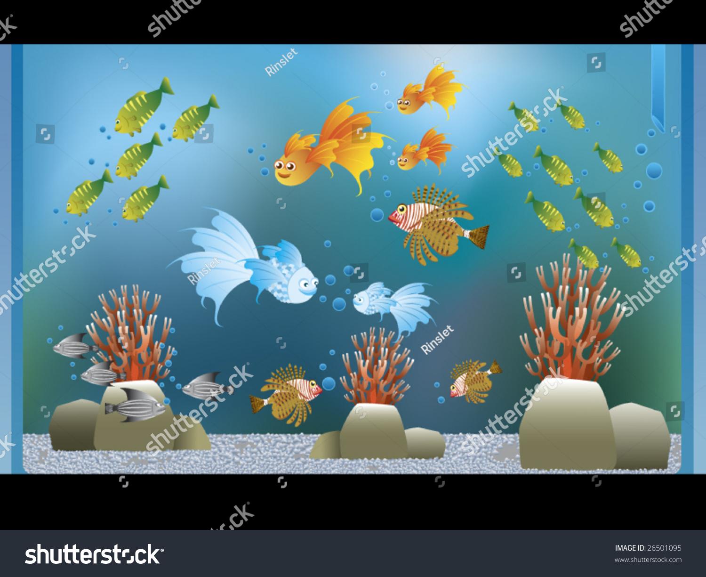 Fish tank clipart - An Aquarium With Full Of Beautiful Fish Vector