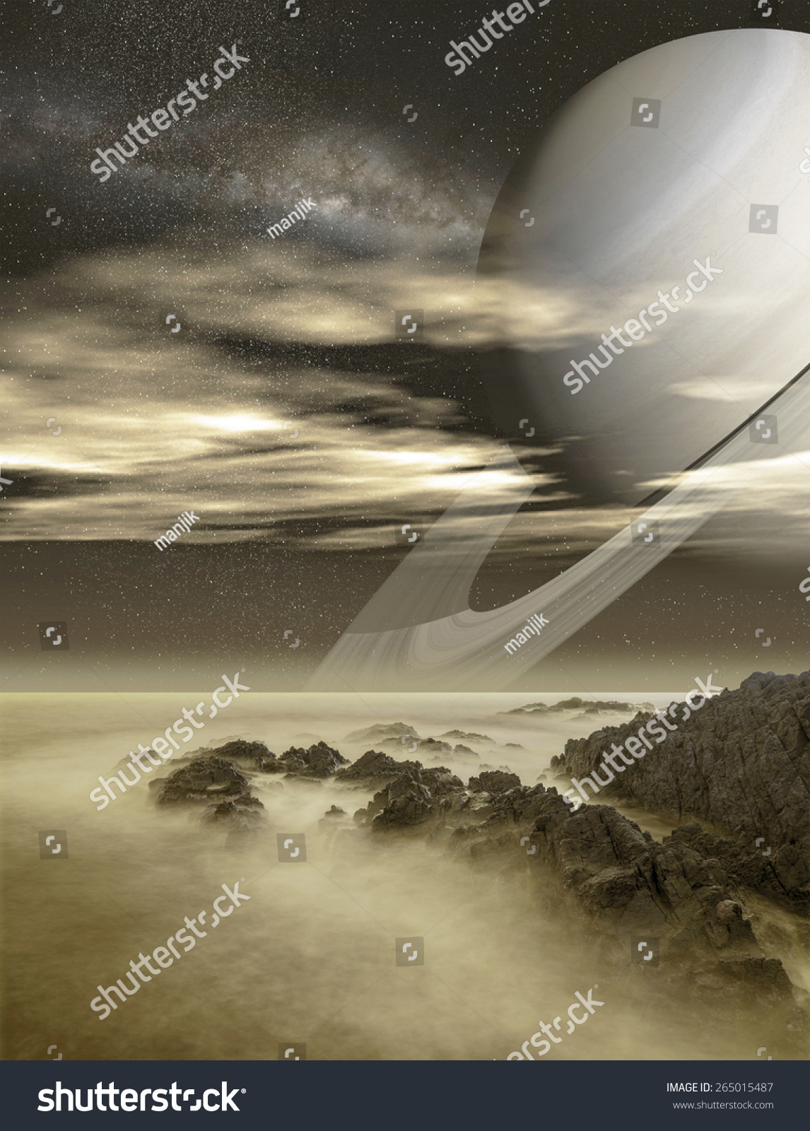 Saturn viewed from Titan moon Elements of this image furnished by NASA