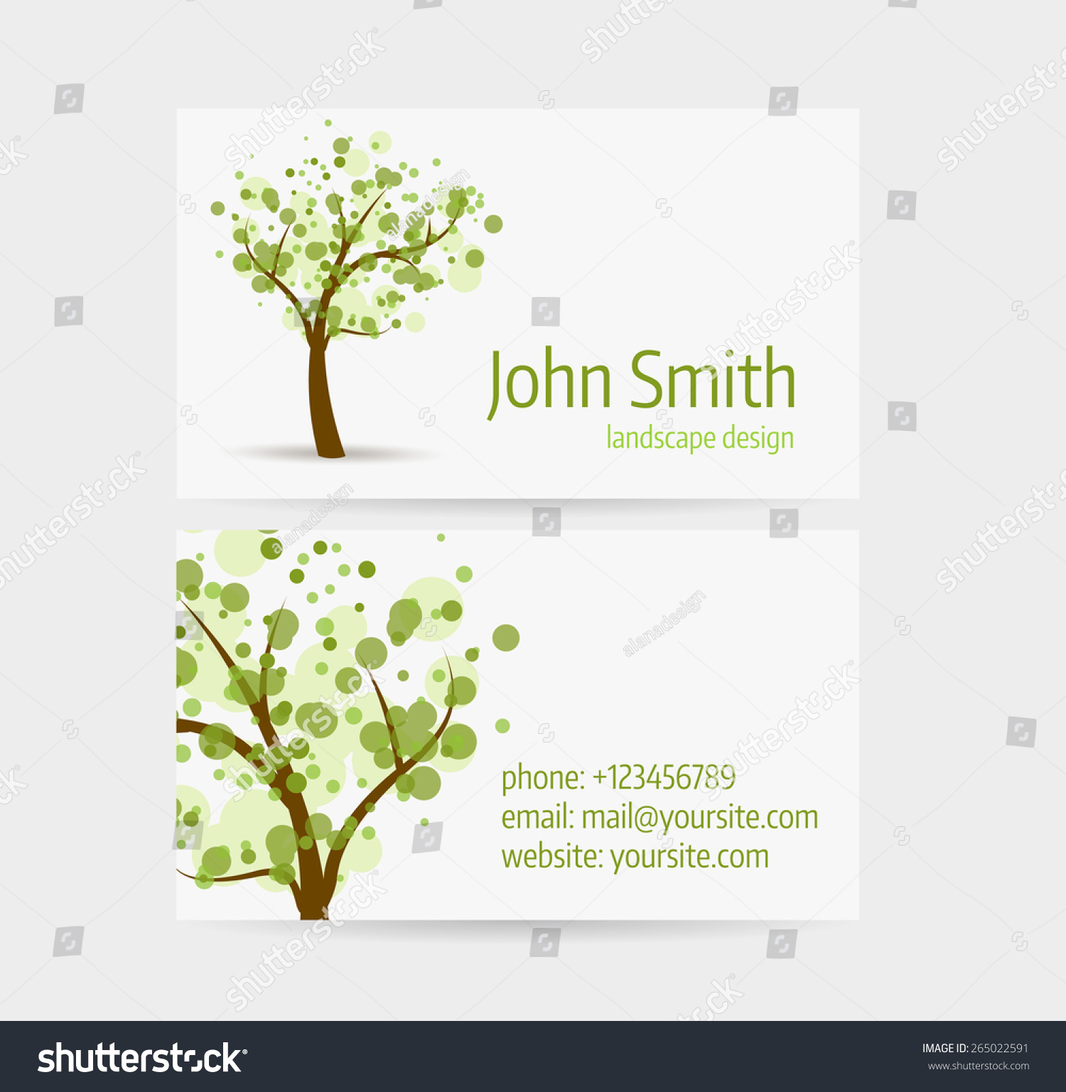 Business card template front back side stock vector 265022591 business card template front and back side abstract tree design magicingreecefo Choice Image