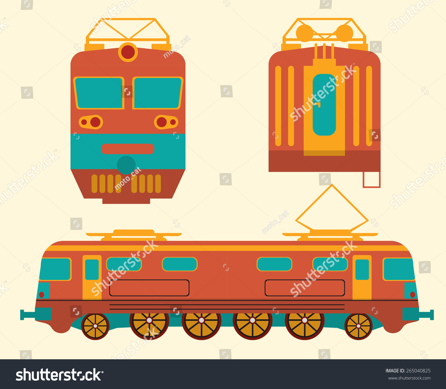 View Of The Train From The Side,Front,Rear Stock Vector ...