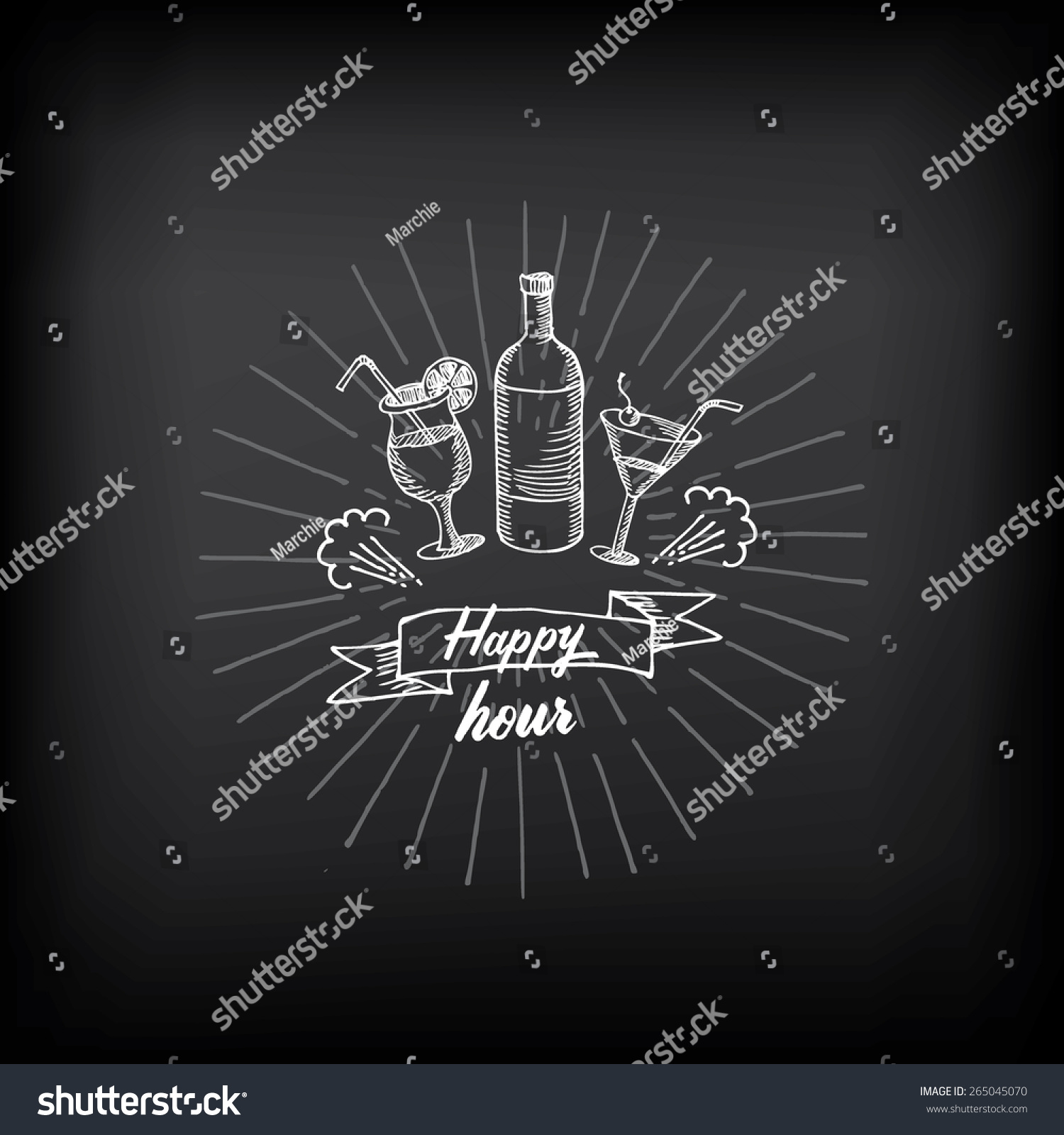happy hour party invitation cocktail chalkboard stock vector happy hour party invitation cocktail chalkboard banner