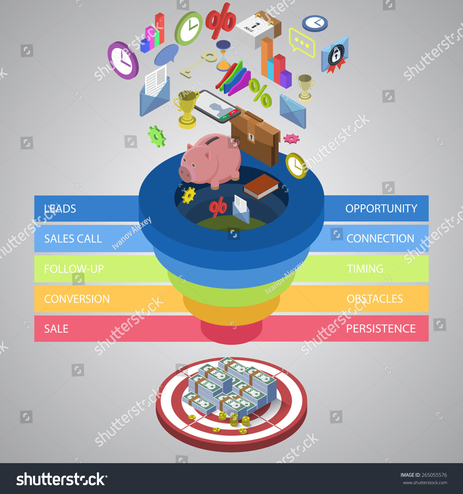 Sales Funnel Template Your Business Presentation Stock Vector