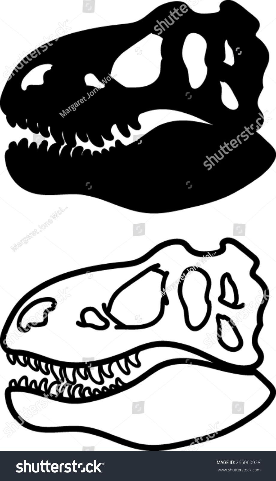 Tyrannosaurus Rex Skull Outline t - rex head silhouette outline ...