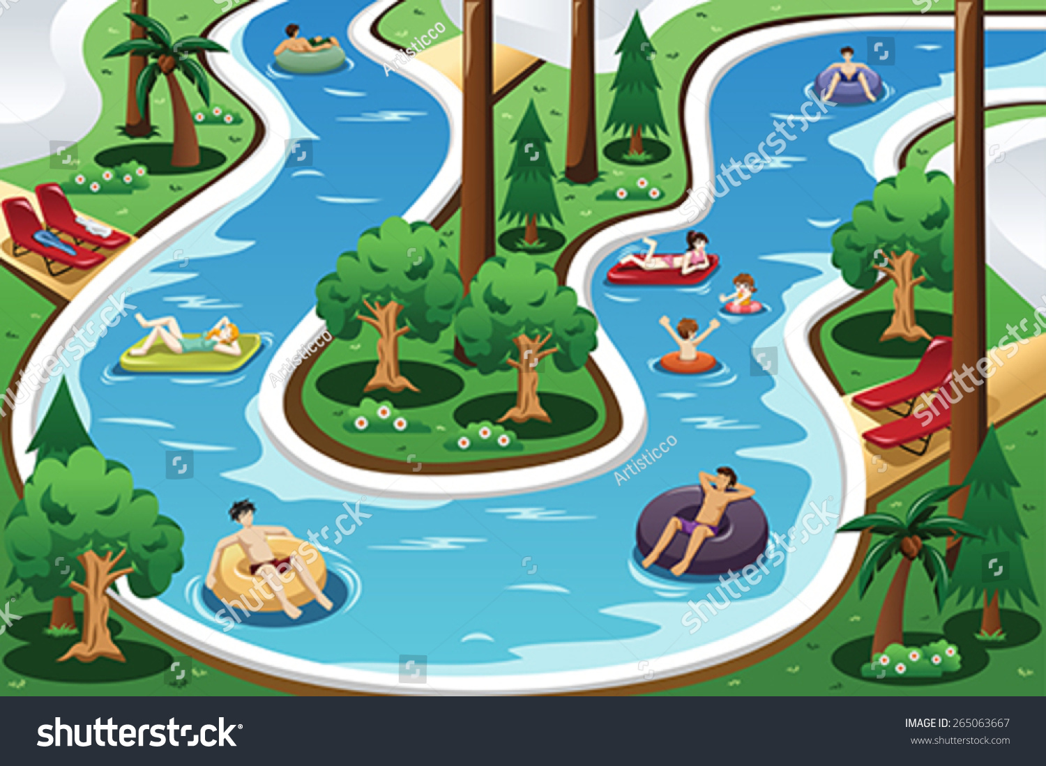 Vector illustration people floating lazy river stock for Swimming pool drawing