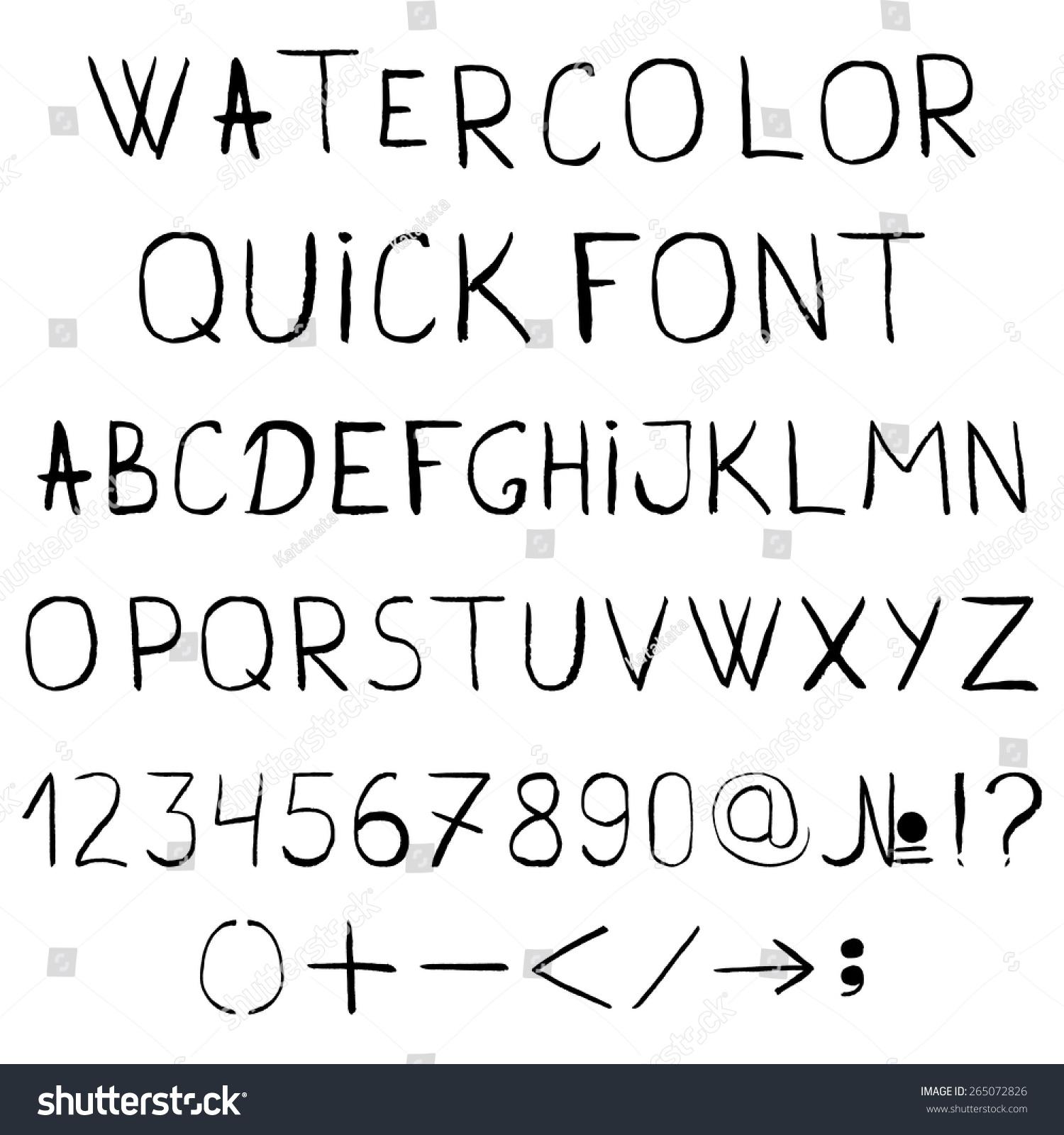 Vector Watercolor Alphabet Numbers Symbols Grunge Stock Photo Photo