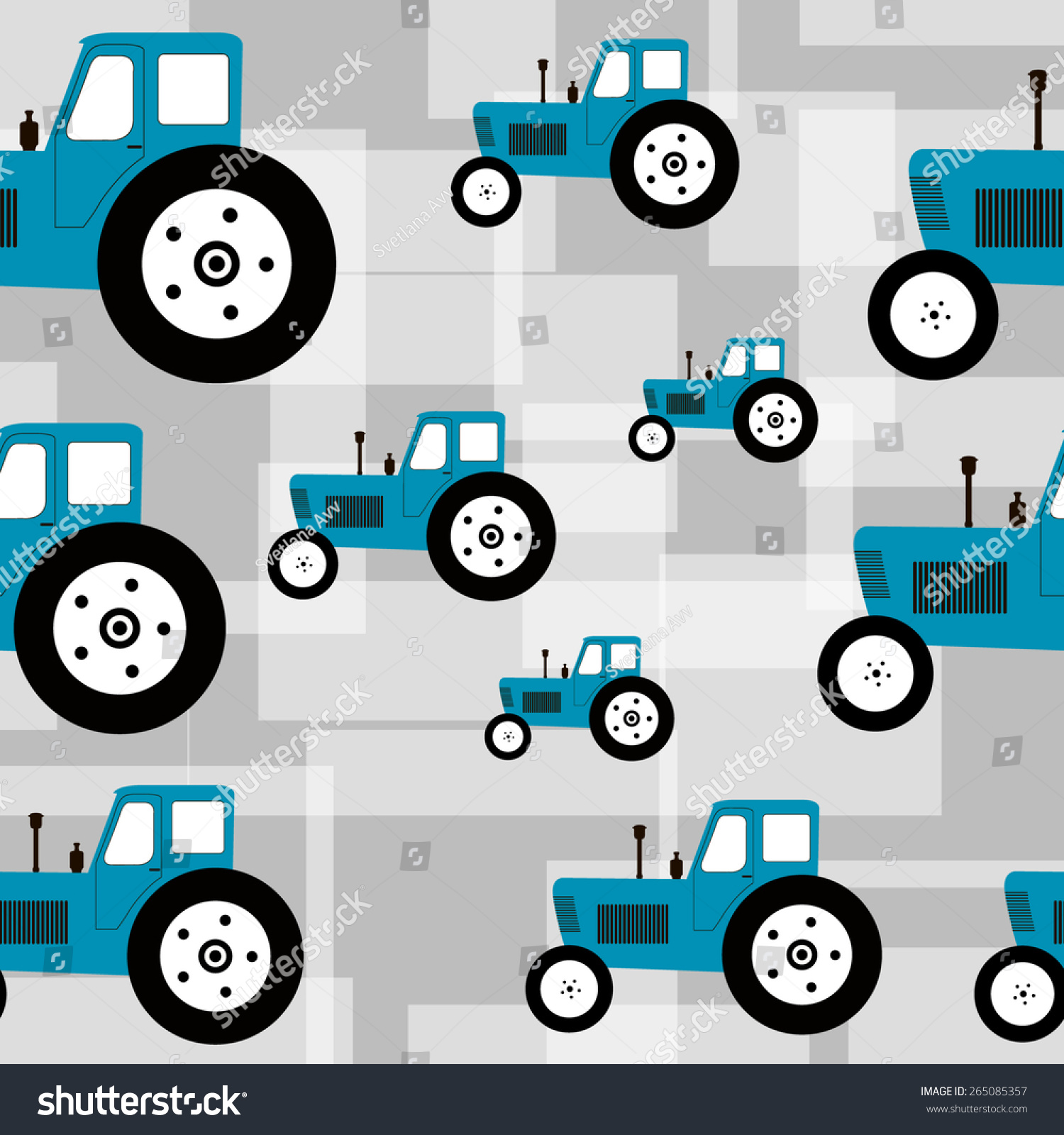 Seamless pattern with blue tractor on grey background