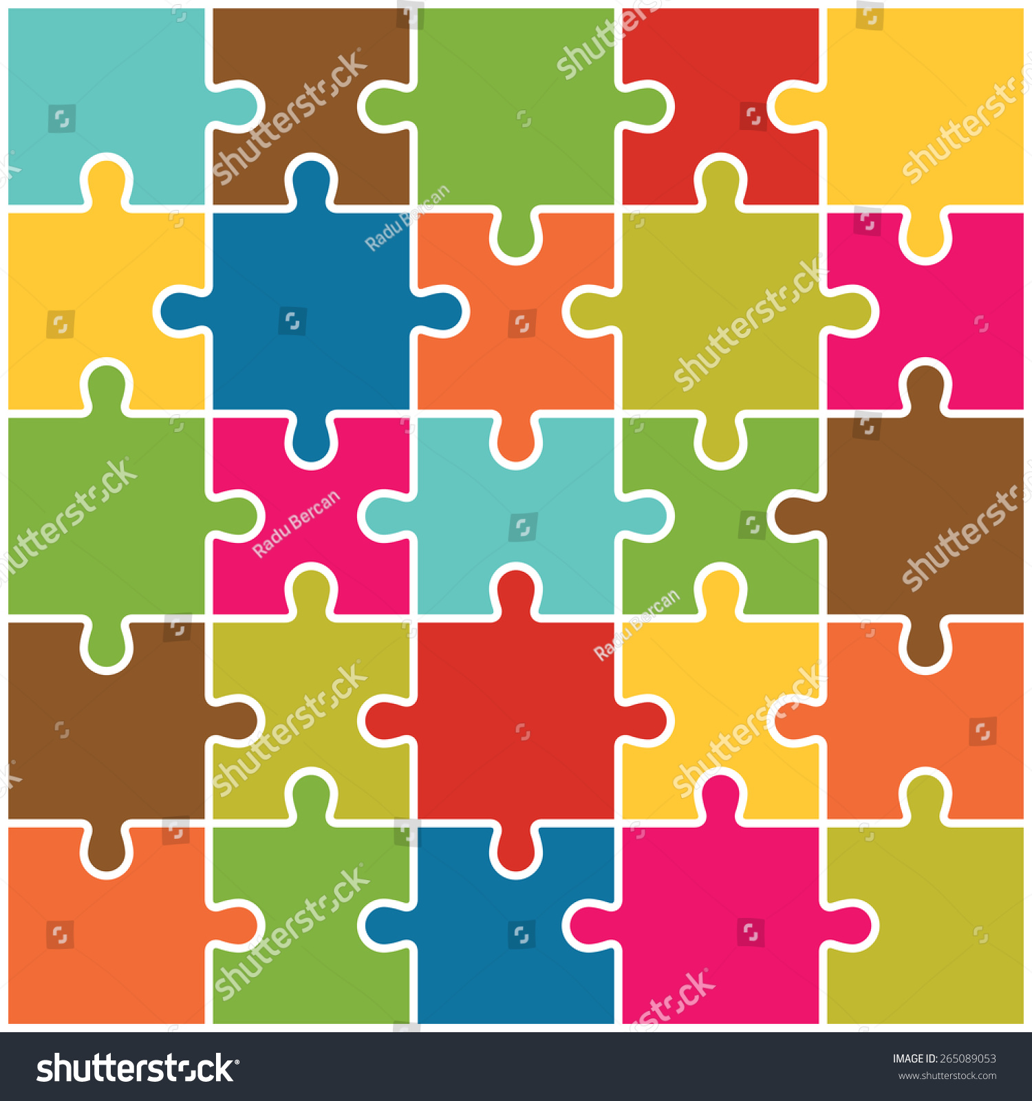 Jigsaw Puzzle Pieces Background Vector Stock Vector 265089053 ...