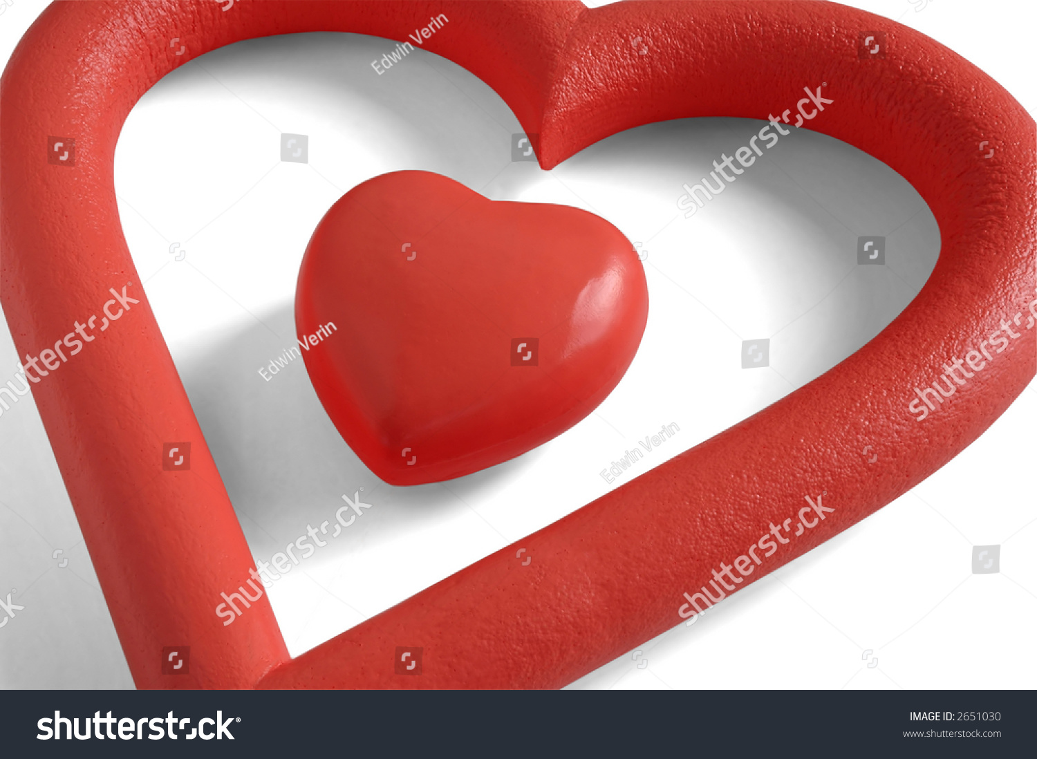 Valentines heart within heartshaped frame white stock photo 2651030 a valentines heart within a heart shaped frame in white background biocorpaavc Images
